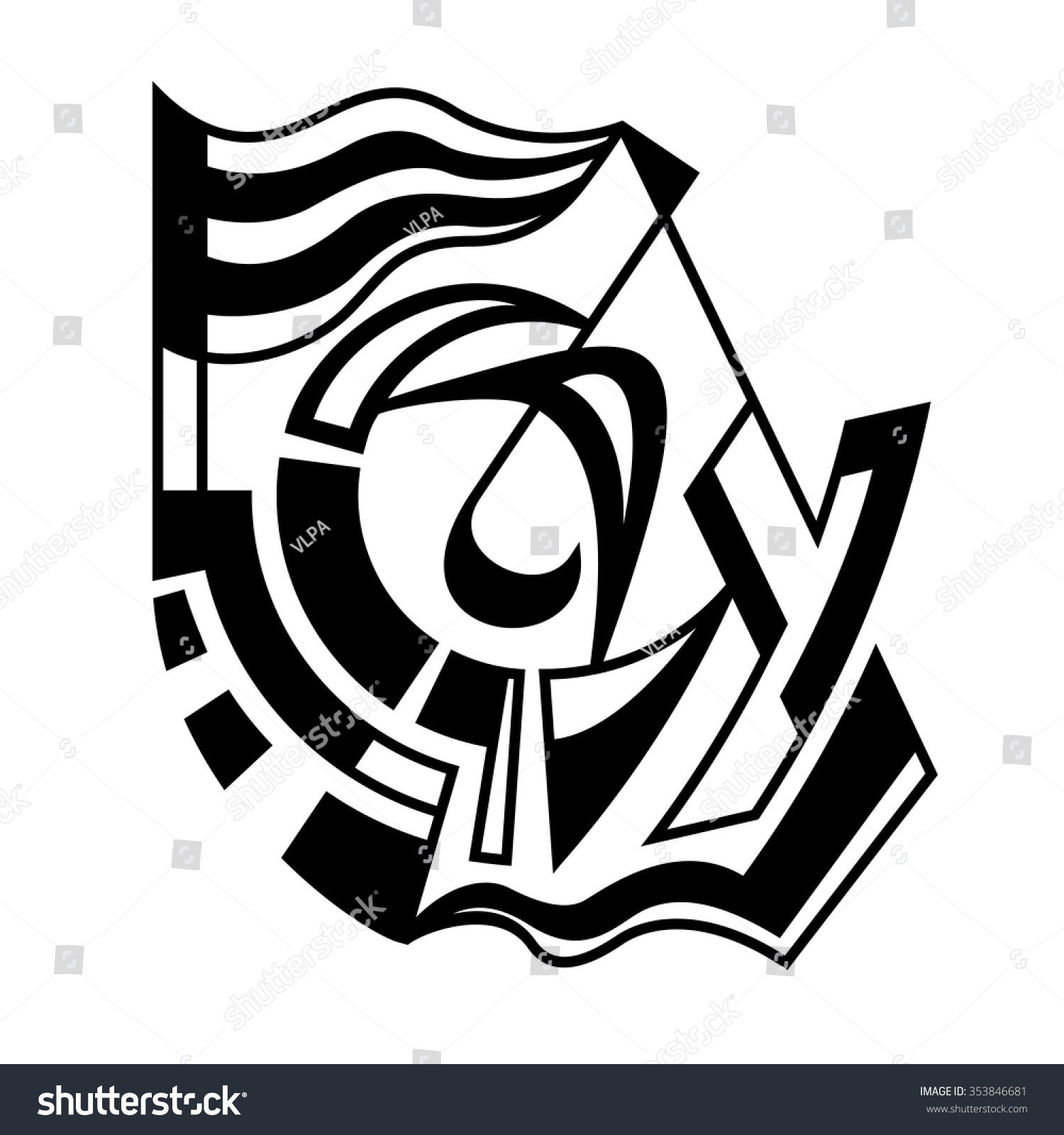 Abstract Expressionism Spontaneous Vector Art Monochrome
