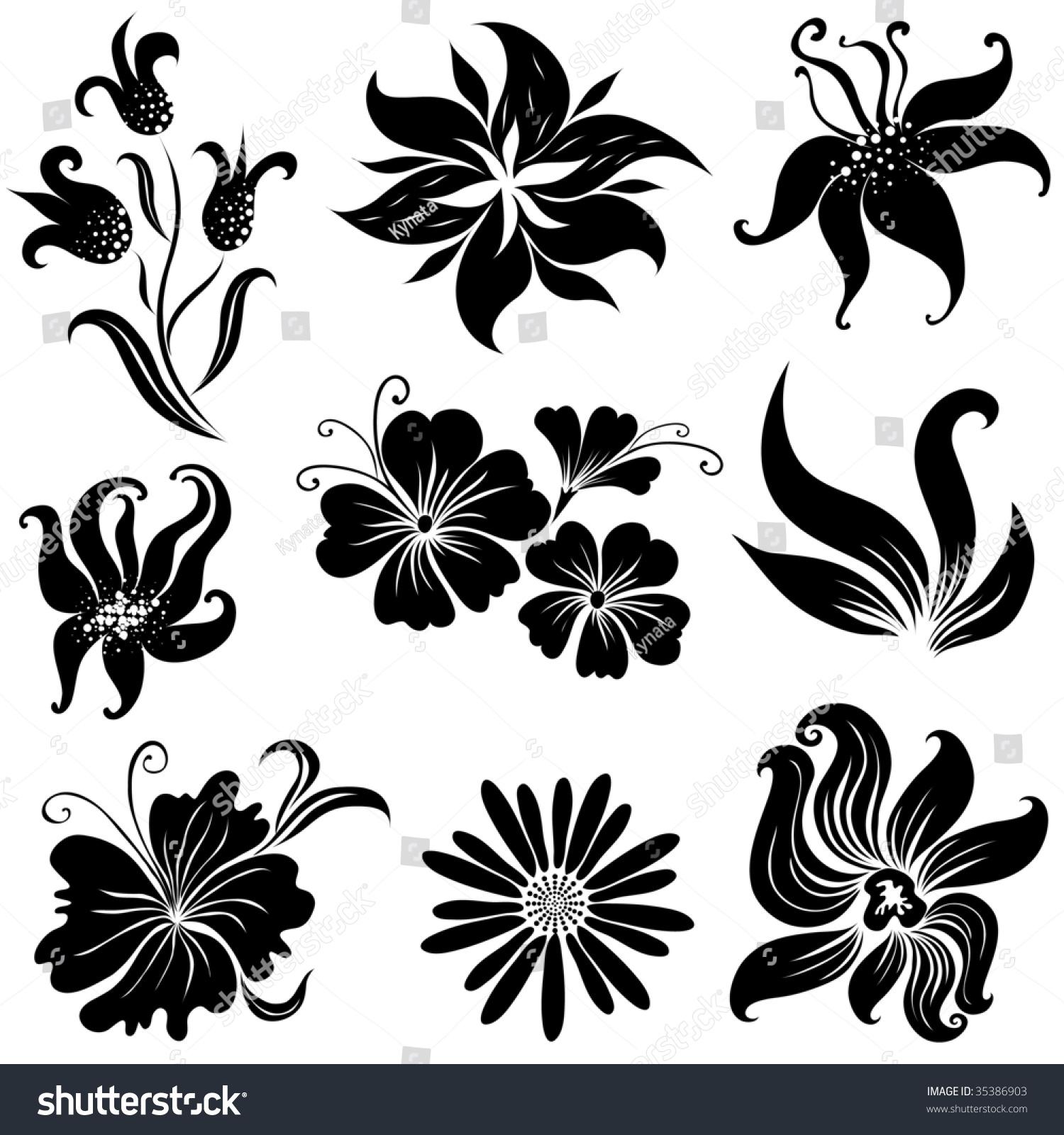 Set Of Black Flower Design Elements Vector Illustration