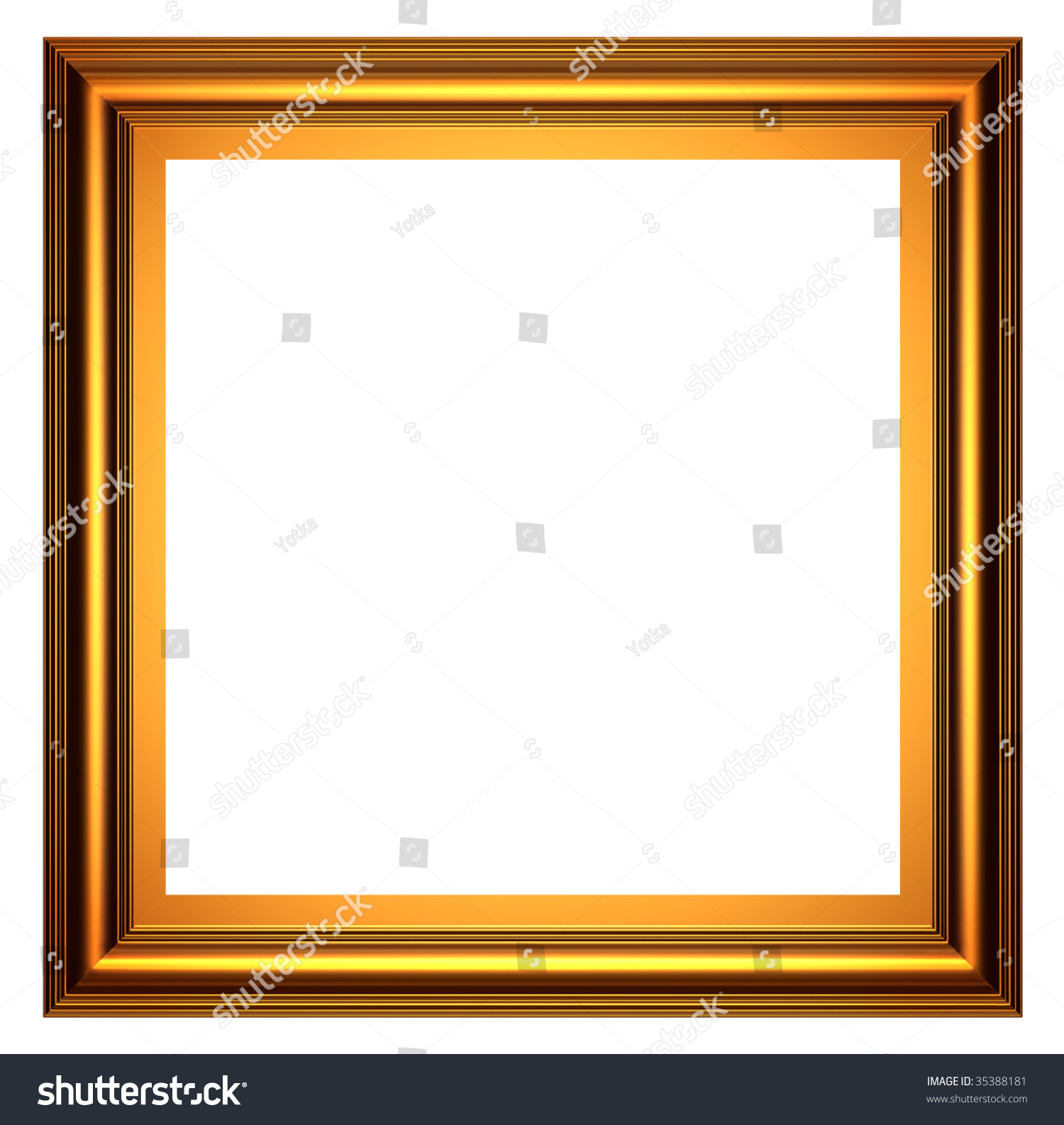 square gold frame on white background