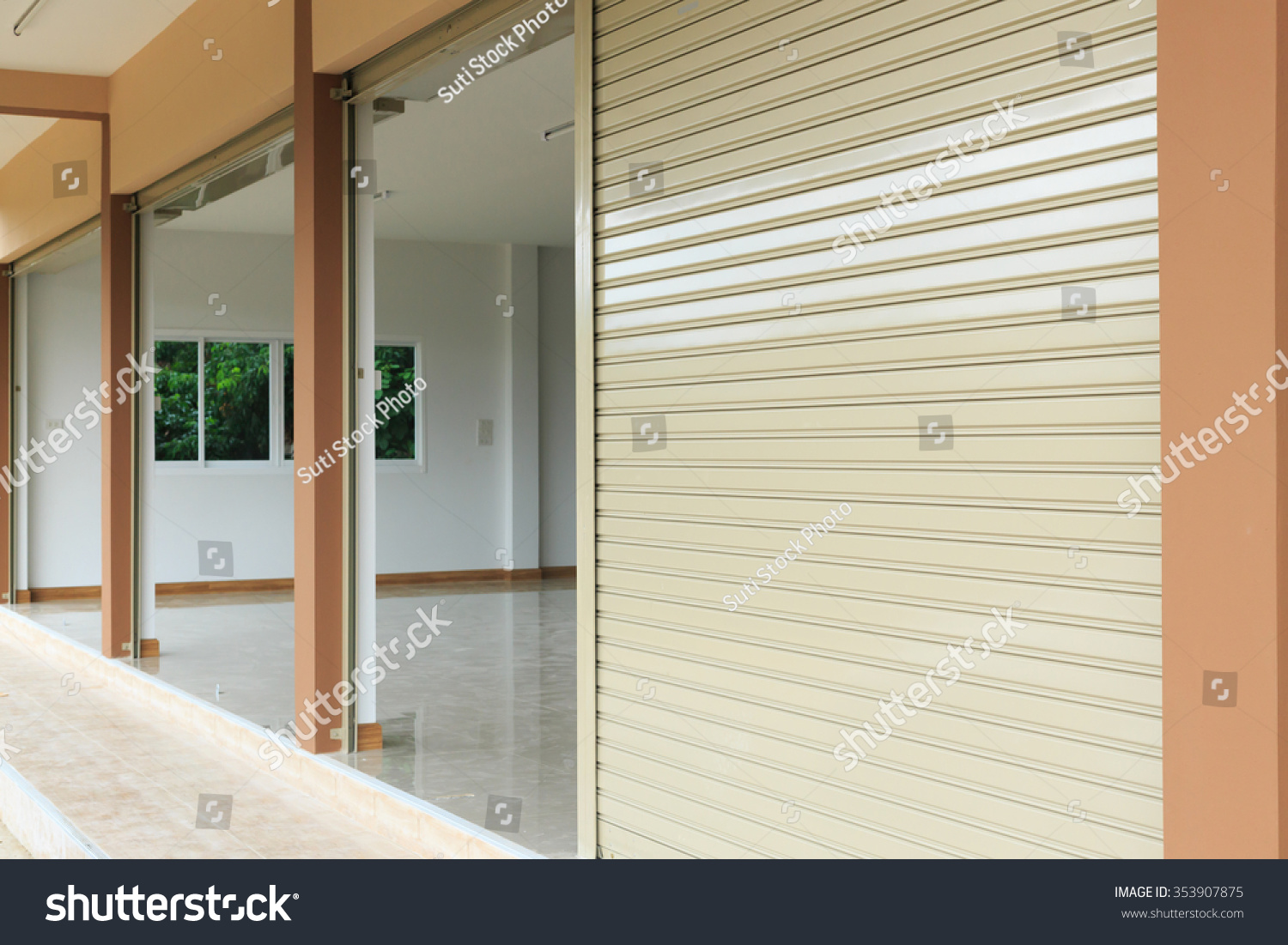 Roller Shutter Kitchen Doors Steel Metal Door Roller Shutter Door Stock Photo 353907875