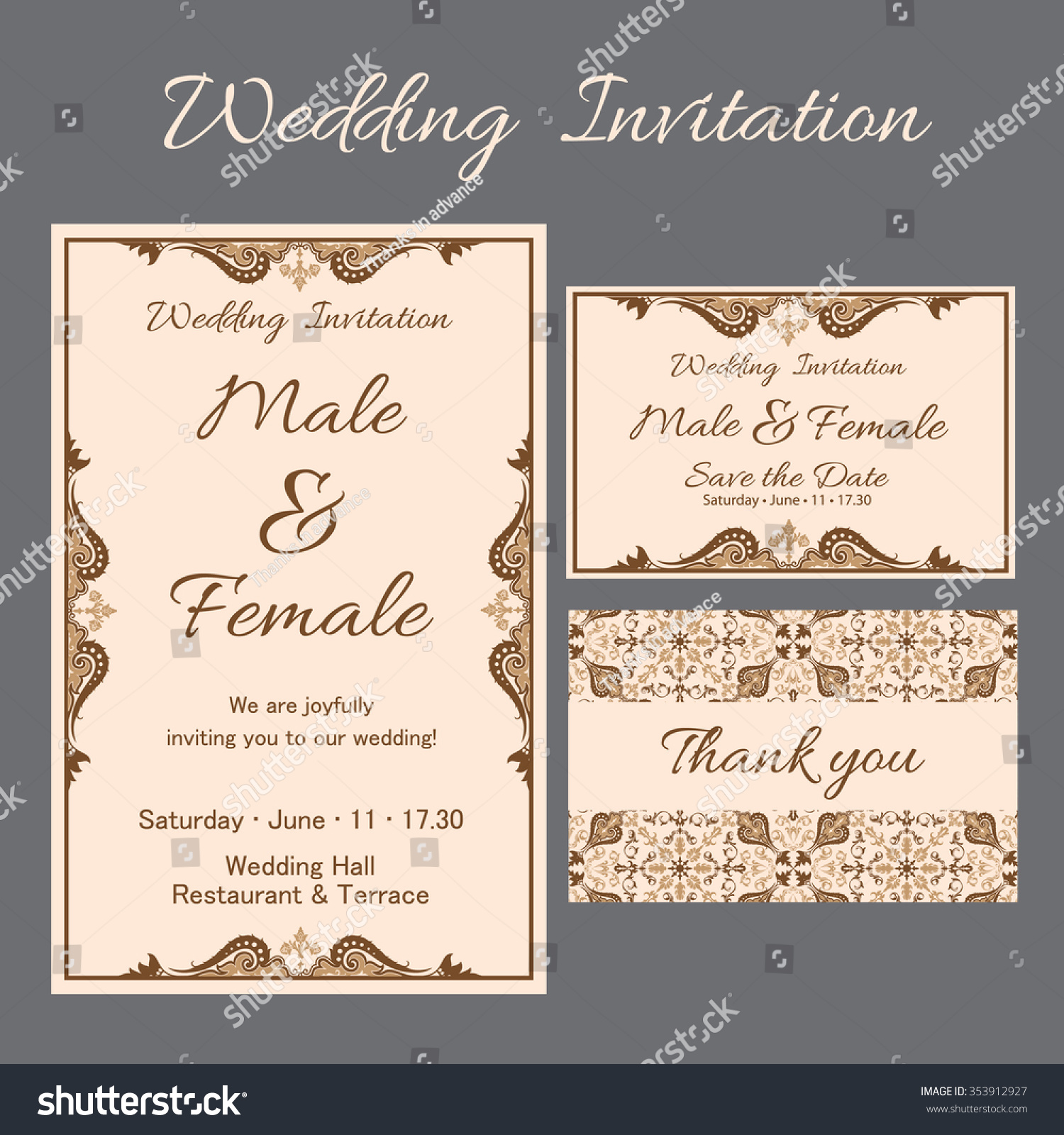 Set Wedding Card Flyer Pages Ornament Stock Vector 353912927 ...