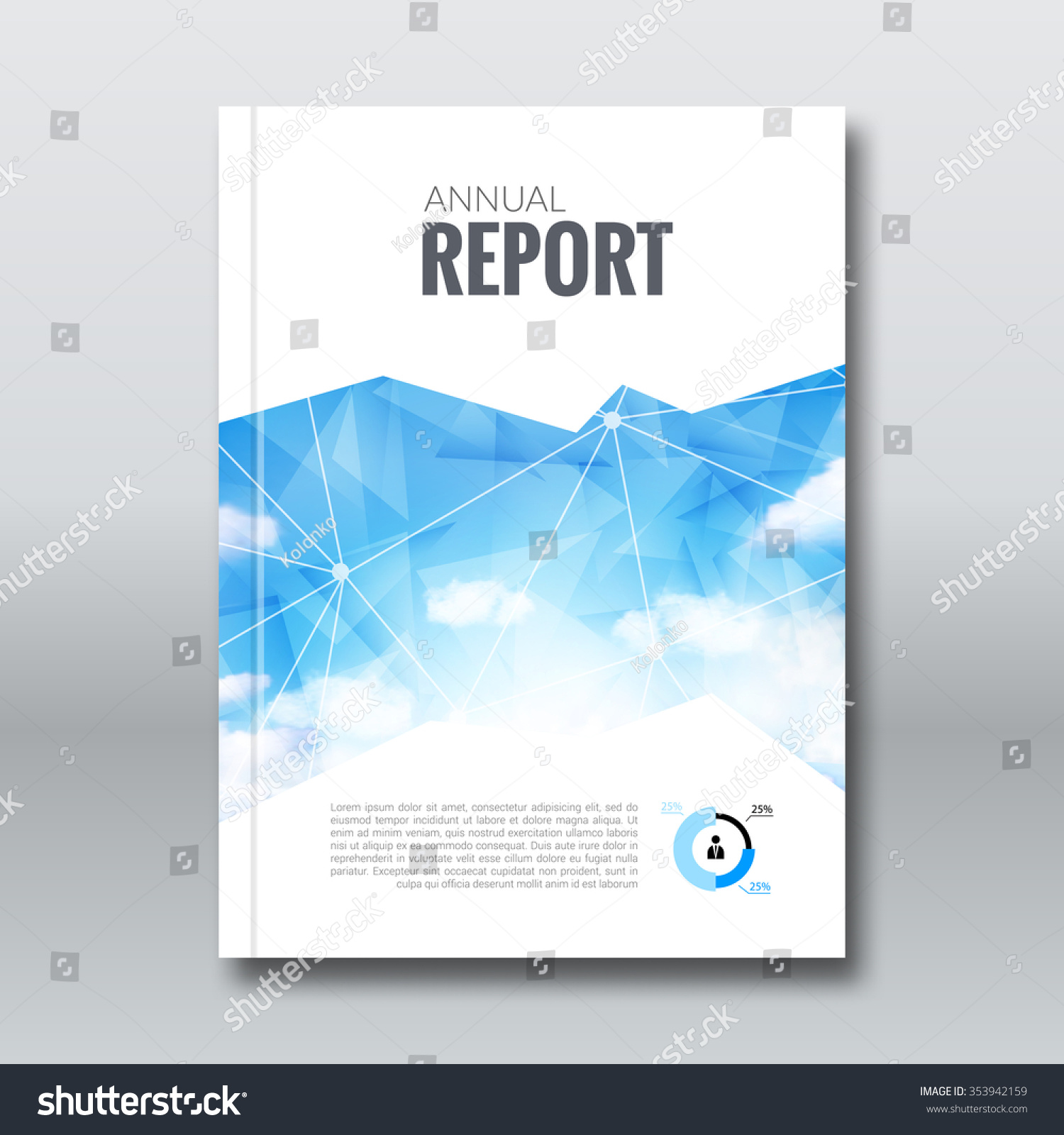 Business Book Cover Design Template : Cover report business colorful triangle polygonal stock