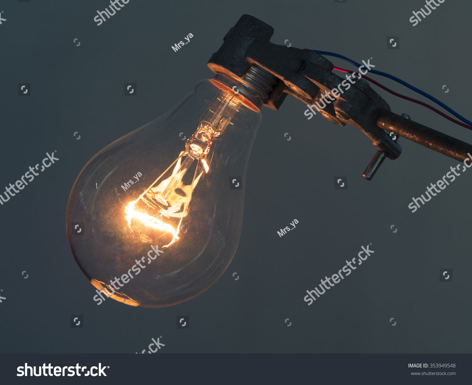 Close Glowing Element Incandescent Light Bulb Stock Photo (Royalty ...