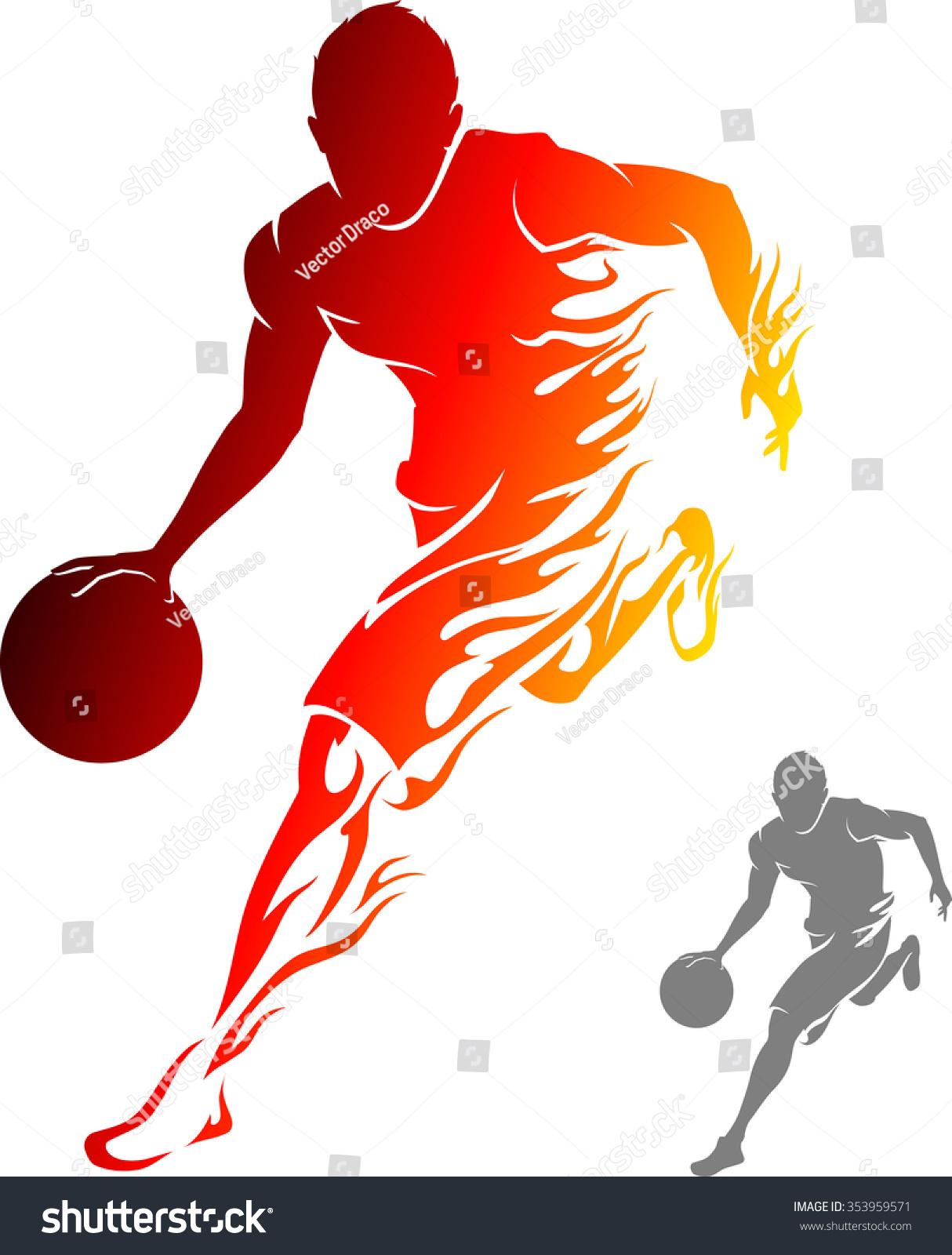 Basketball player dribbling clipart