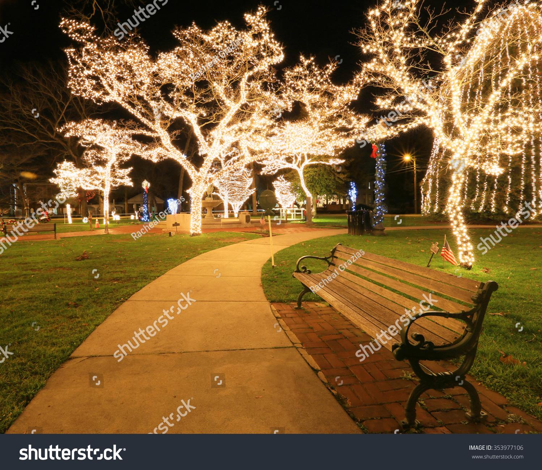 Empty Park Bench Night Stock Photo Edit Now 353977106 Shutterstock