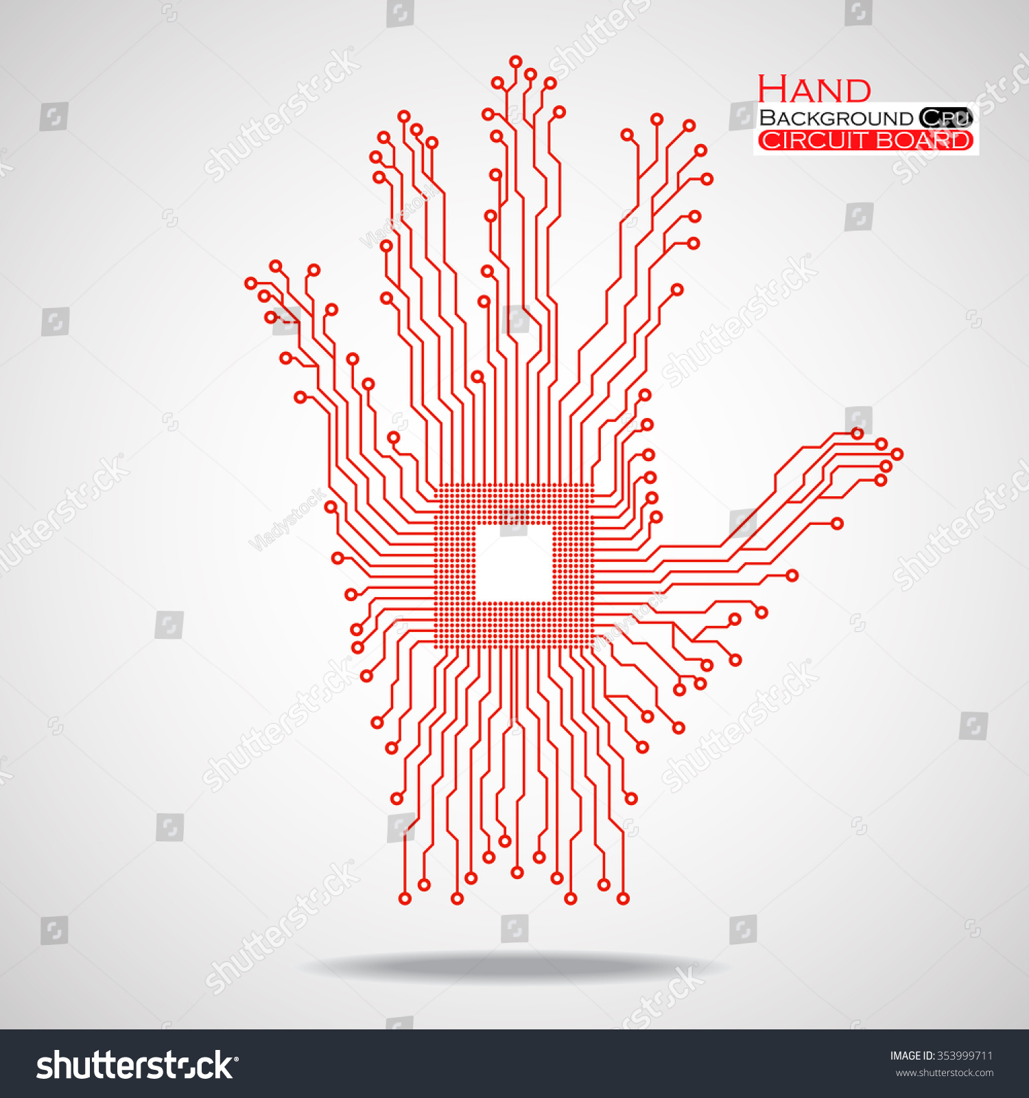 Hand Cpu Circuit Board Vector Illustration Stock Royalty Free Image Of Printed Sciencestockphotoscom Eps 10