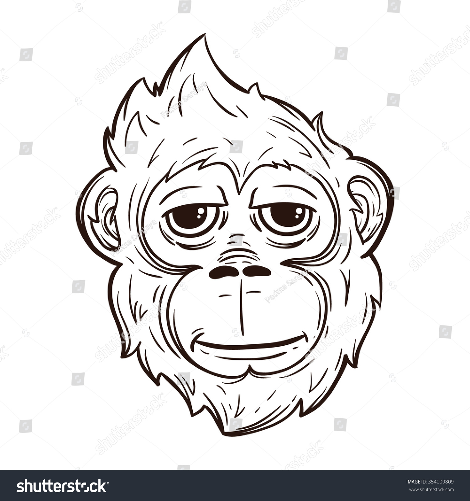Gorilla Face Line Drawing : Cool monkey face line art style stock vector
