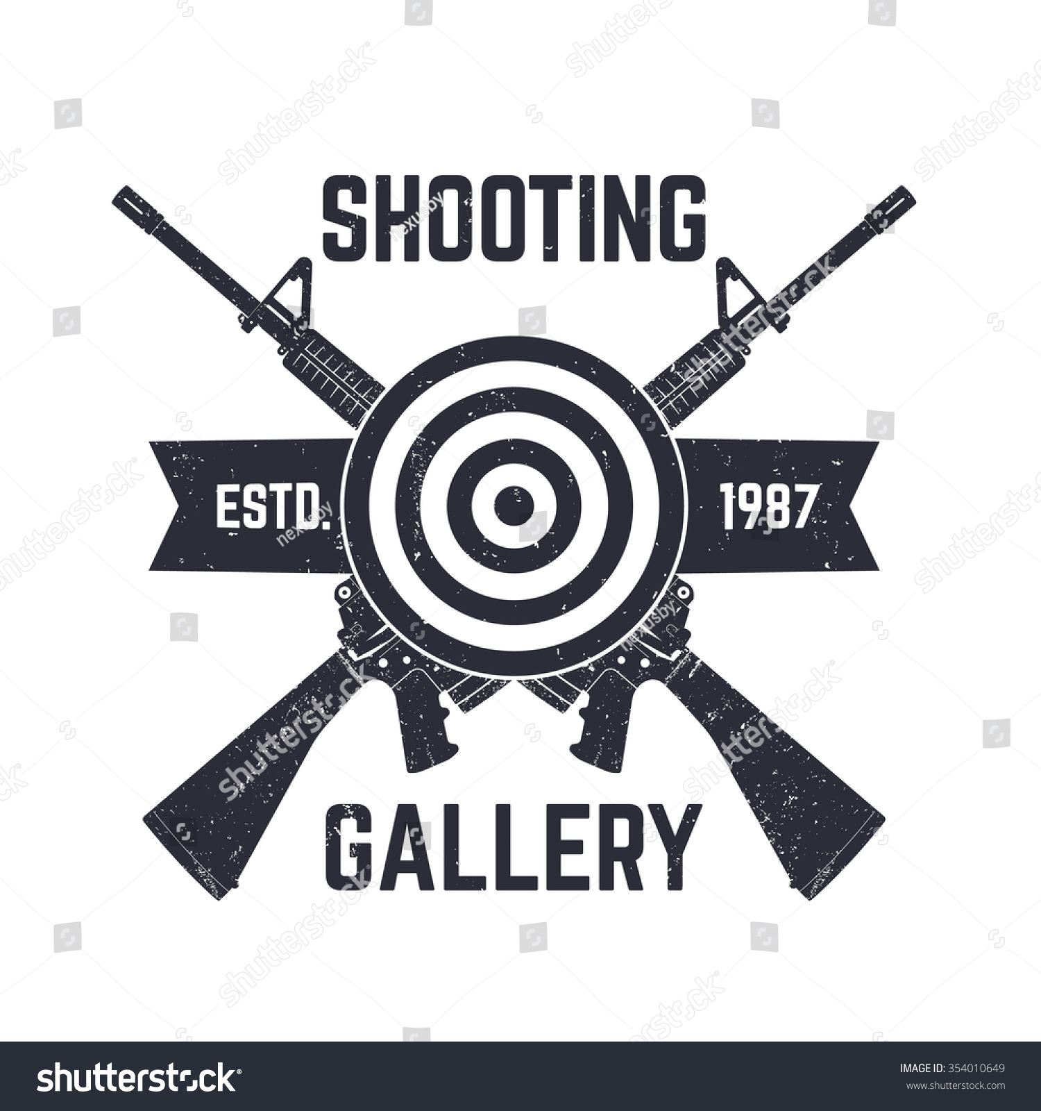 shooting gallery logo sign with crossed assault rifles