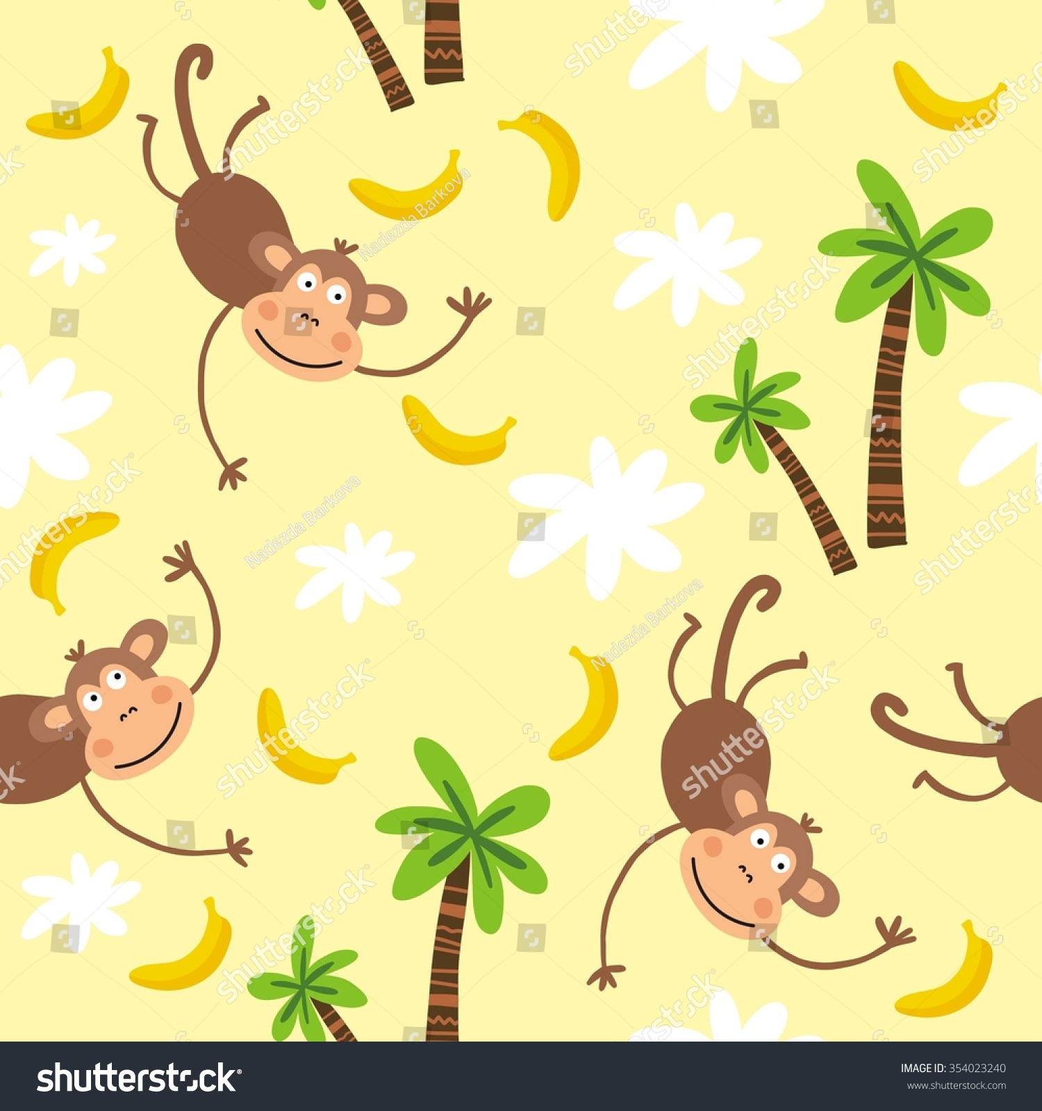 funny monkey print kids stock vector 354023240 - shutterstock