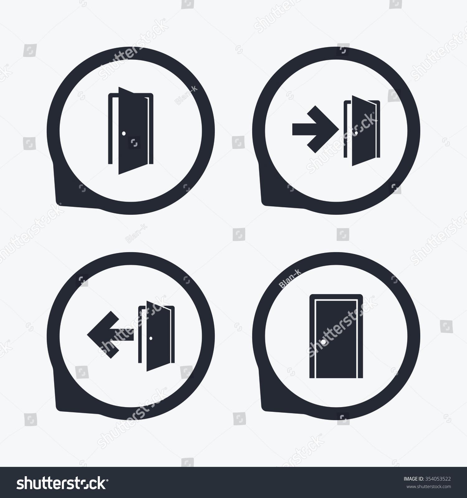 Doors icons emergency exit arrow symbols stock vector 354053522 emergency exit with arrow symbols fire exit signs flat icon pointers buycottarizona Images