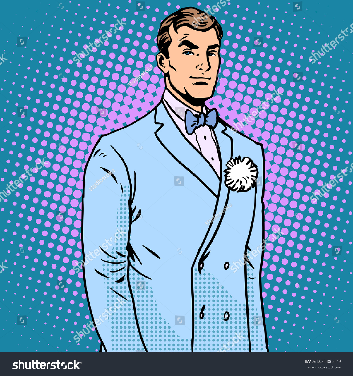 Groom Wedding Suit Pop Art Retro Stock Photo (Photo, Vector ...