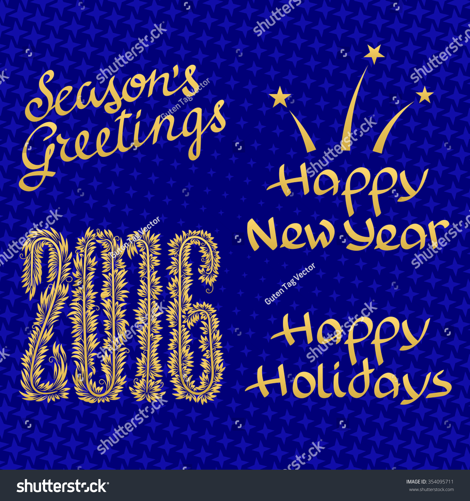 Happy holidays happy new year 2016 stock vector 354095711 happy holidays happy new year 2016 seasons greetings golden lettering design set on kristyandbryce Choice Image