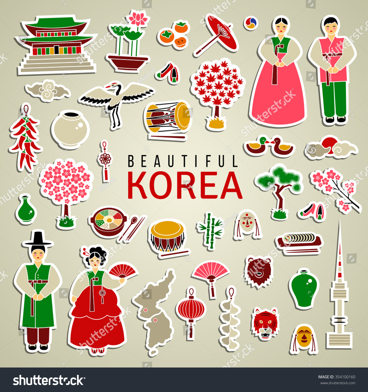 Korean Cultural Symbols Set Sticker Type Vector De Stock354100160