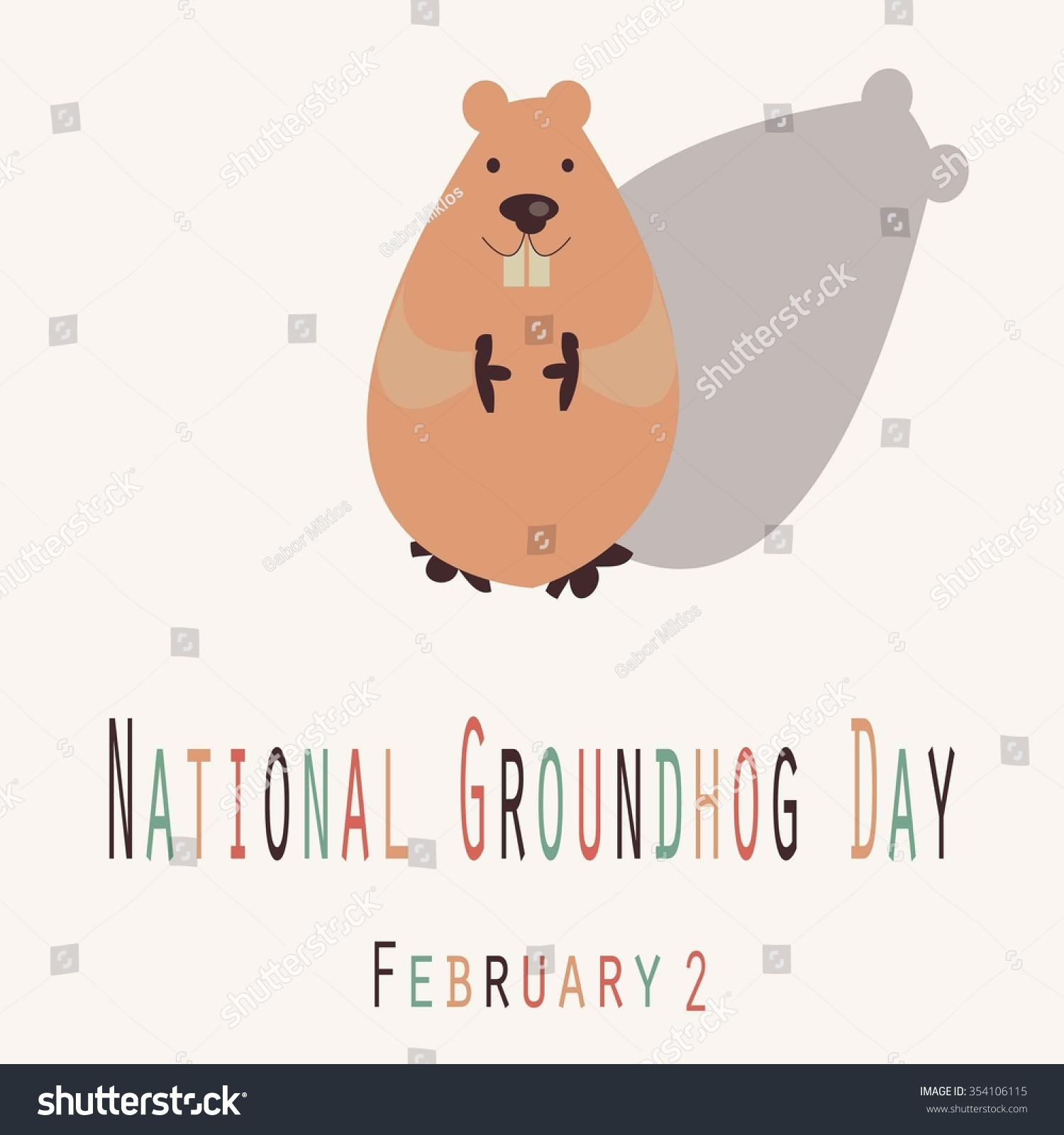 national groundhog day funny unofficial holiday stock vector