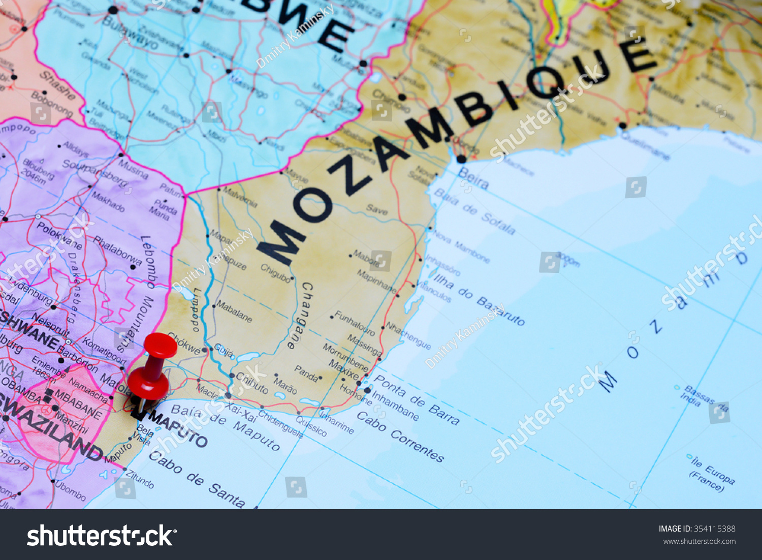 Maputo Pinned On Map Africa Stock Photo 354115388 Shutterstock