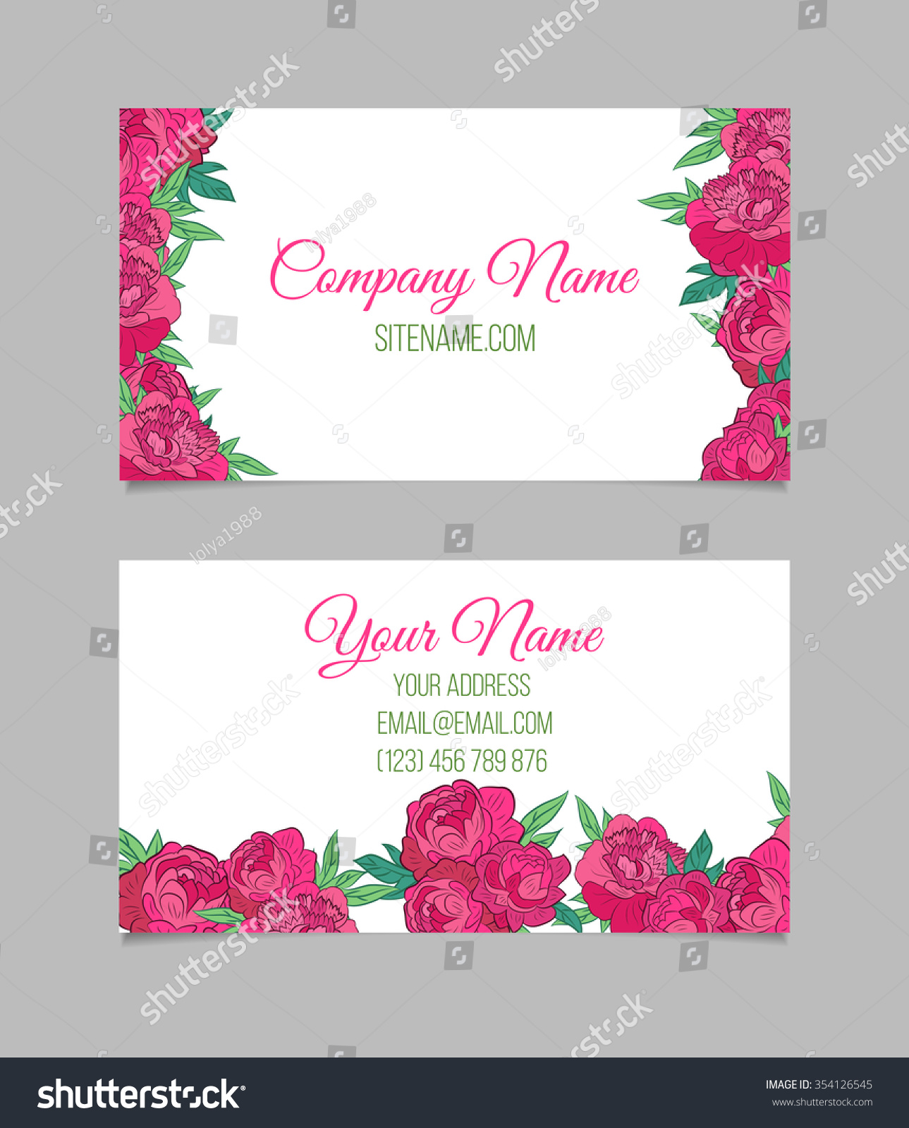 Doublesided Floral Business Card Template Pink Stock Vector ...
