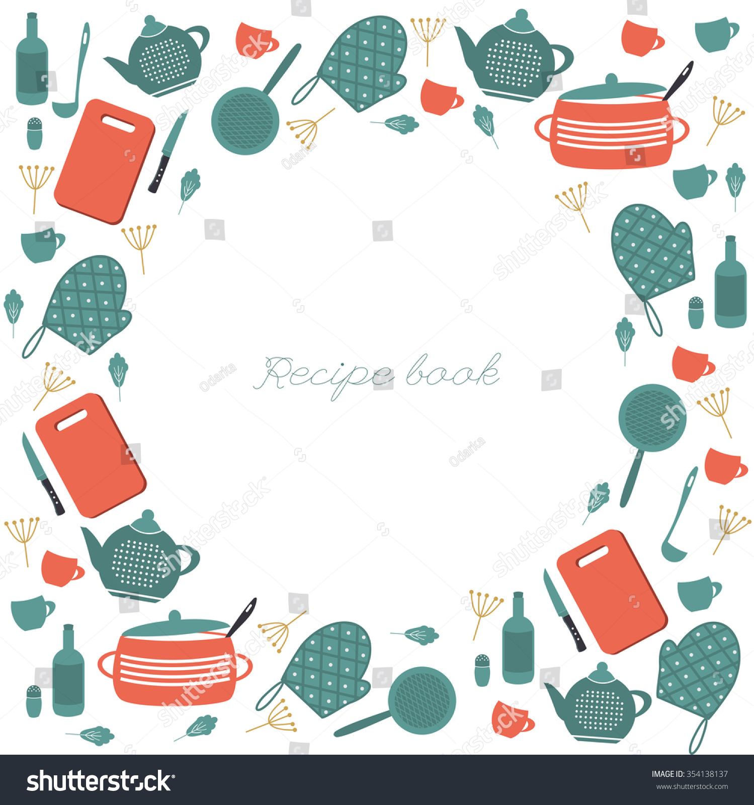 Kitchen Pictures Frames: Cute Circle Cooking Frame Kitchen Elements Stock Vector