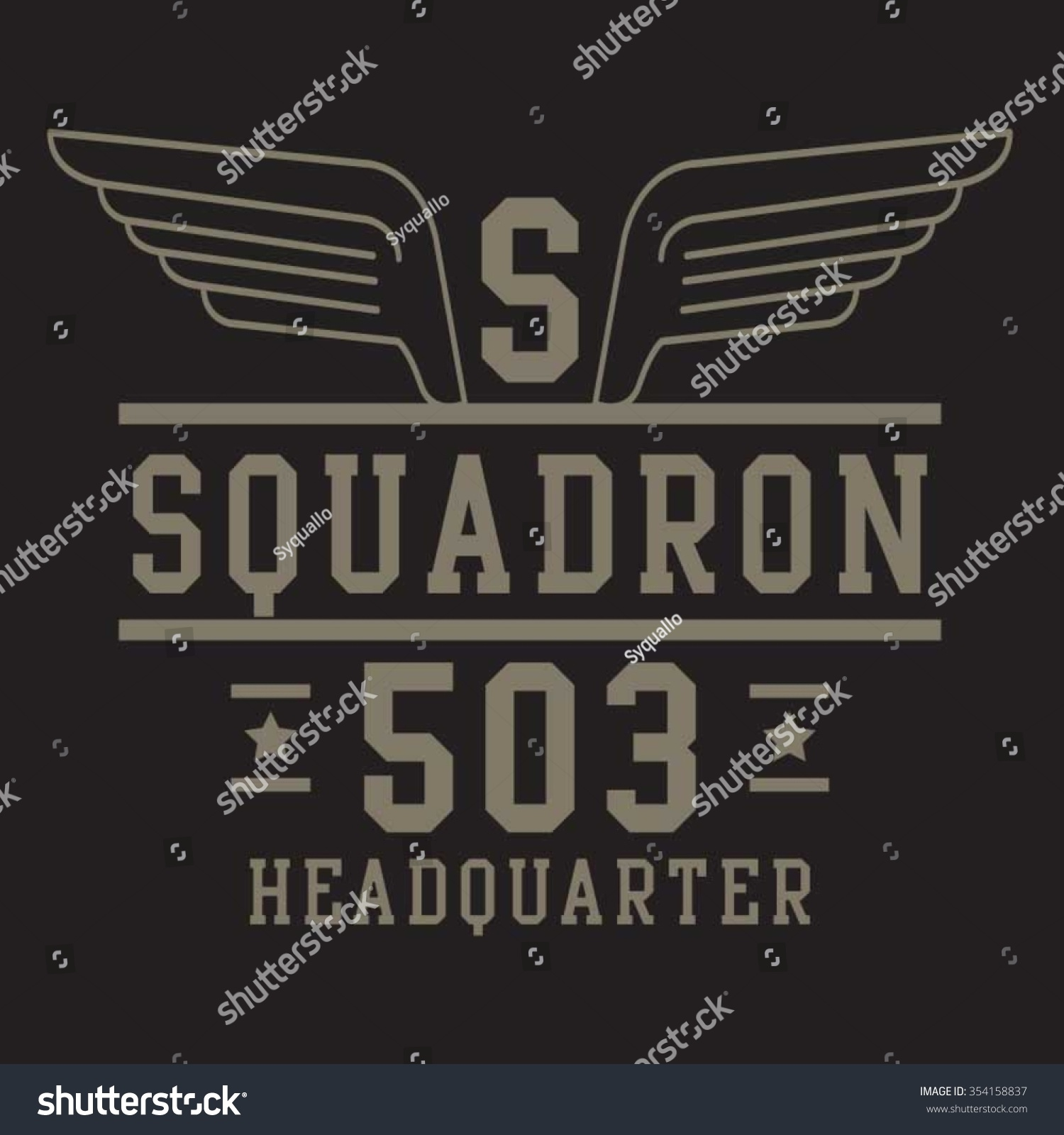 Air Force Squadron Typography Tshirt Graphics Stock Vector