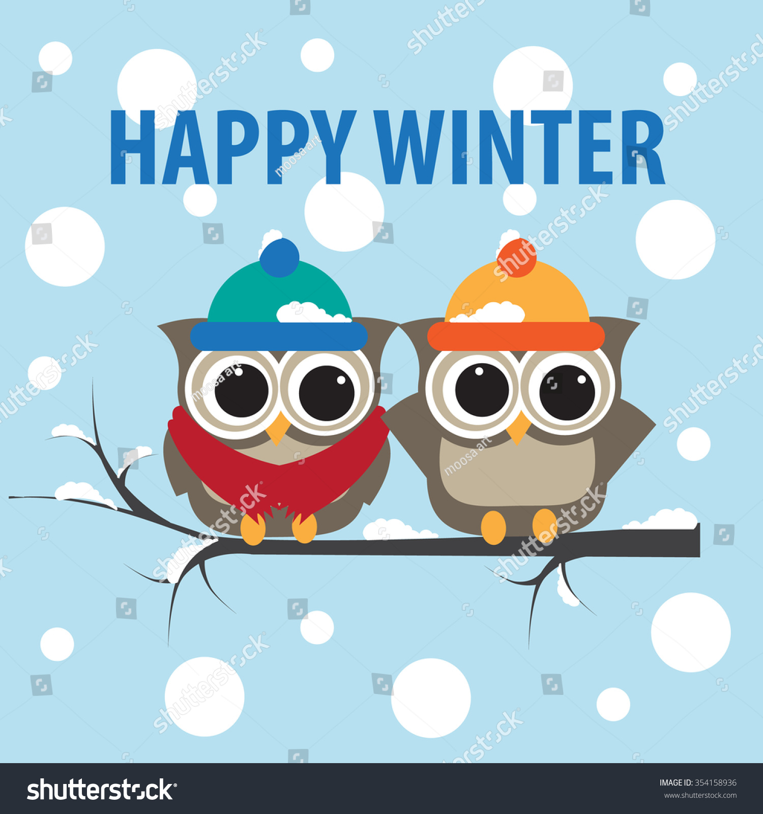 Happy Winter Cute Owls Backgroundvector Stock Vector