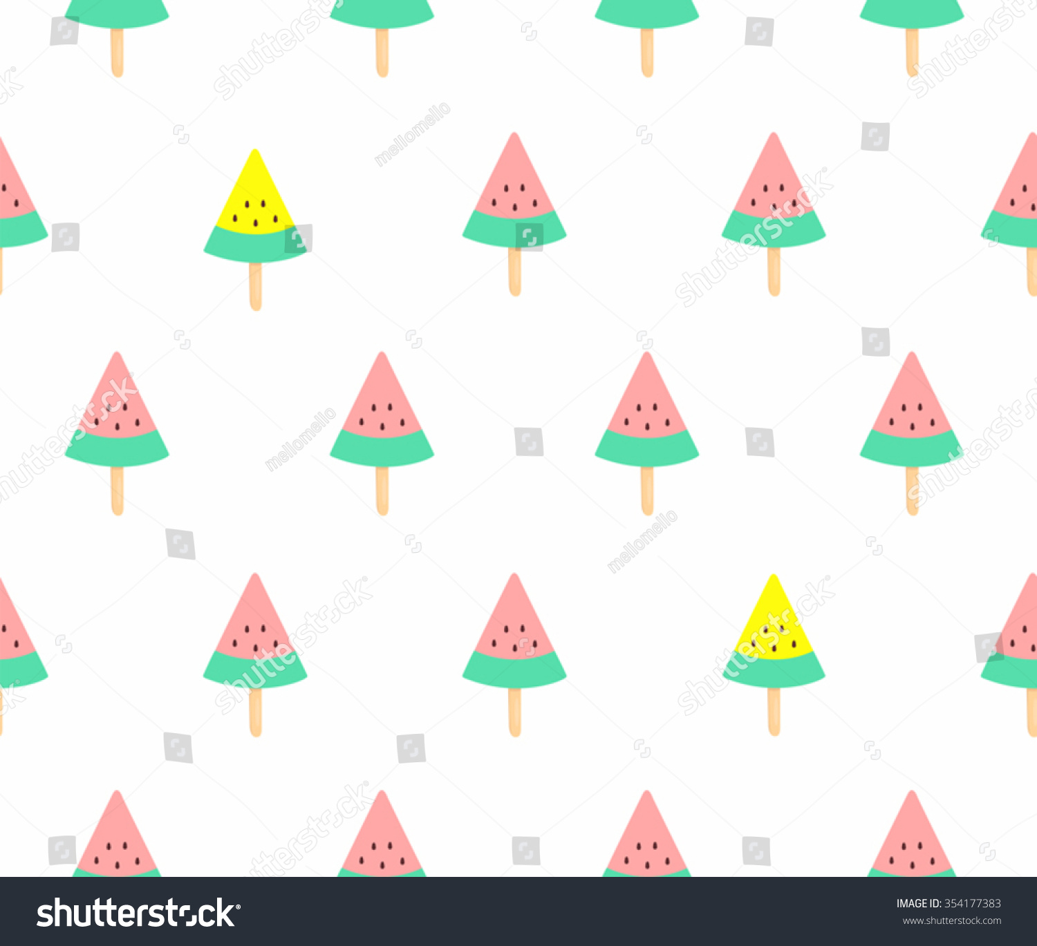 Cute Colorful Ice Cream Seamless Pattern Background: Cute Pink Yellow Watermelon Ice Cream Vectores En Stock