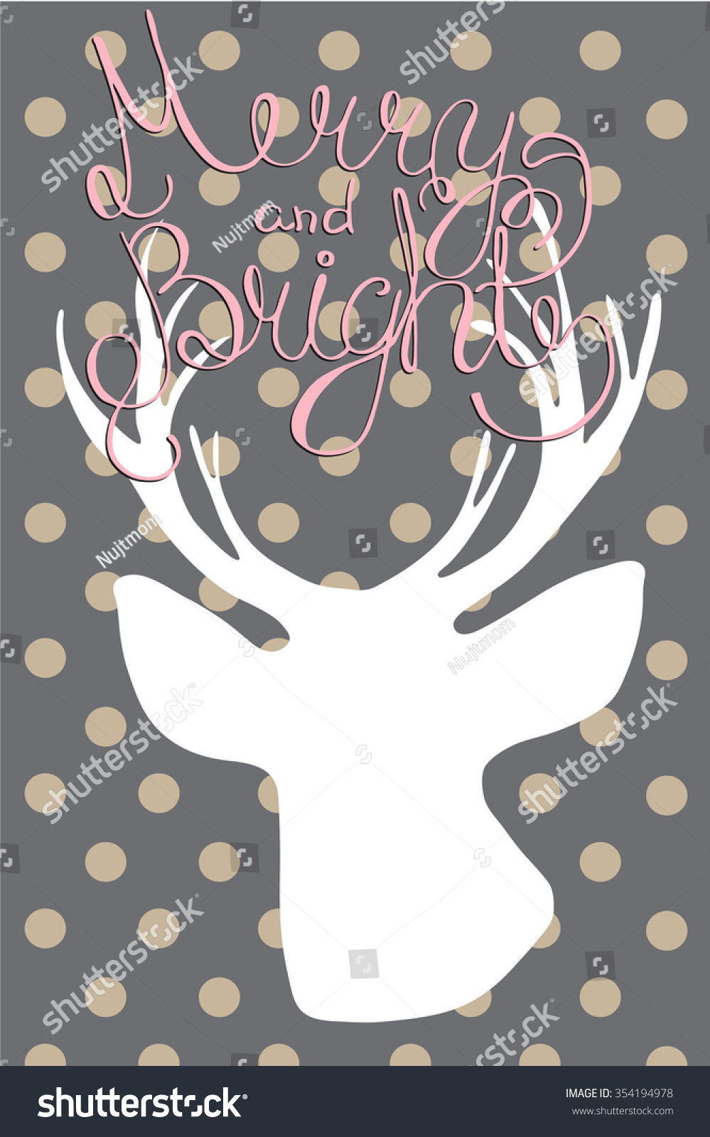 Merry Bright Whimsical Calligraphy Christmas Cards Stock Vector ...