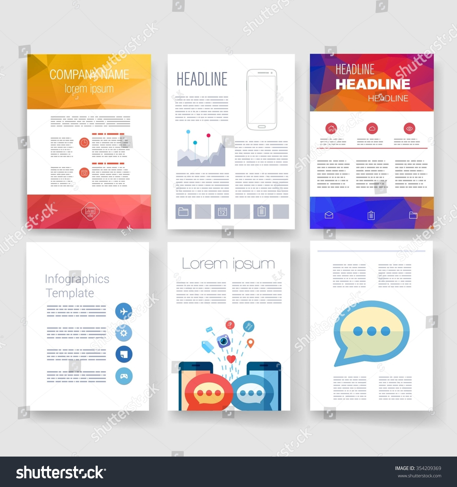 Brochure Design Template Set Templates Design Set Of Web Mail