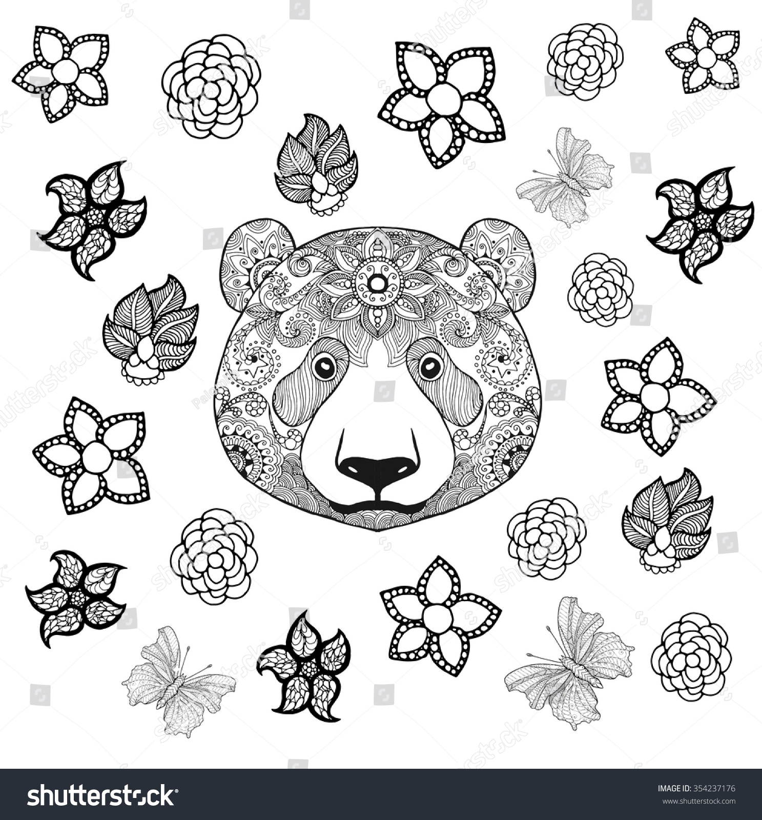 Flower Panda Coloring Page Animals Hand Stock Vector 354237176 ...