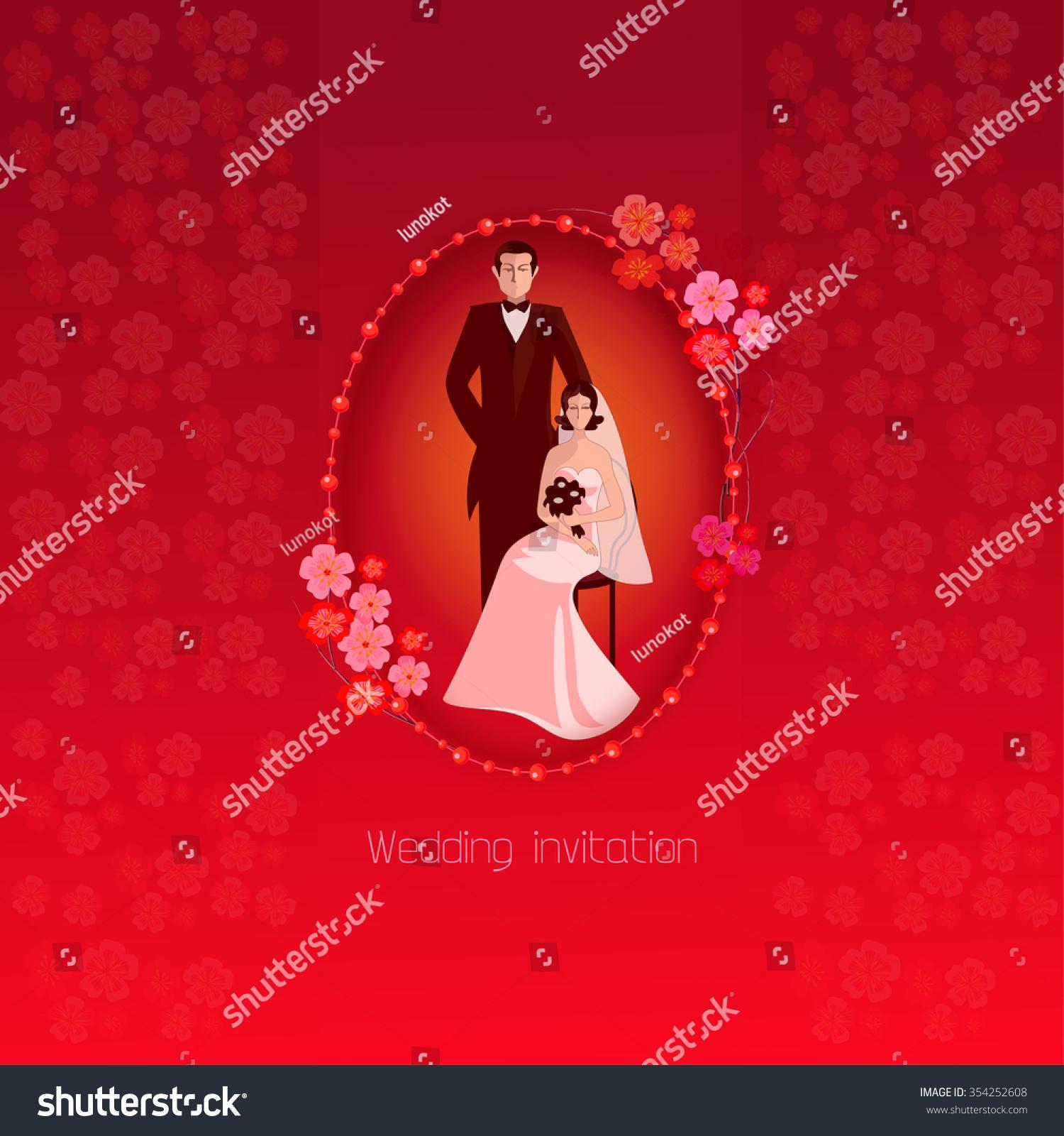 Red Wedding Invitation Spring Flowers Sakura Stock Vector (Royalty ...