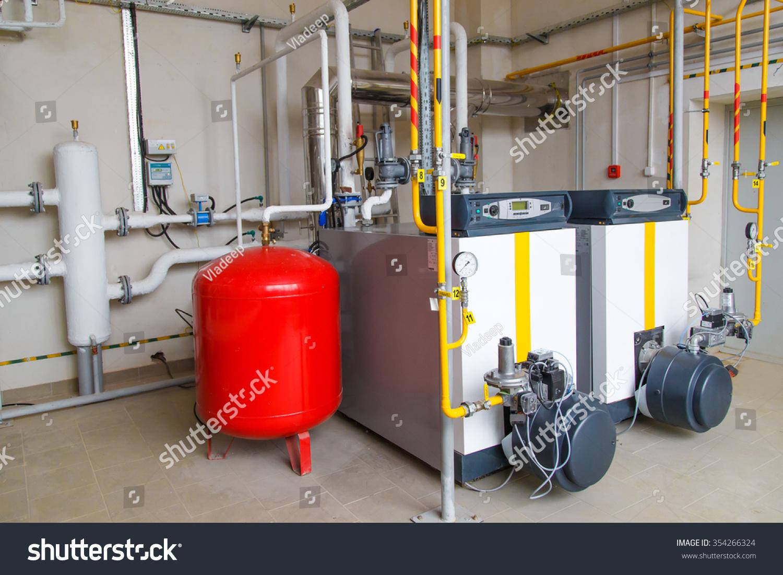 Modern Hitech Gas Boiler House Industrial Stock Photo (Royalty Free ...