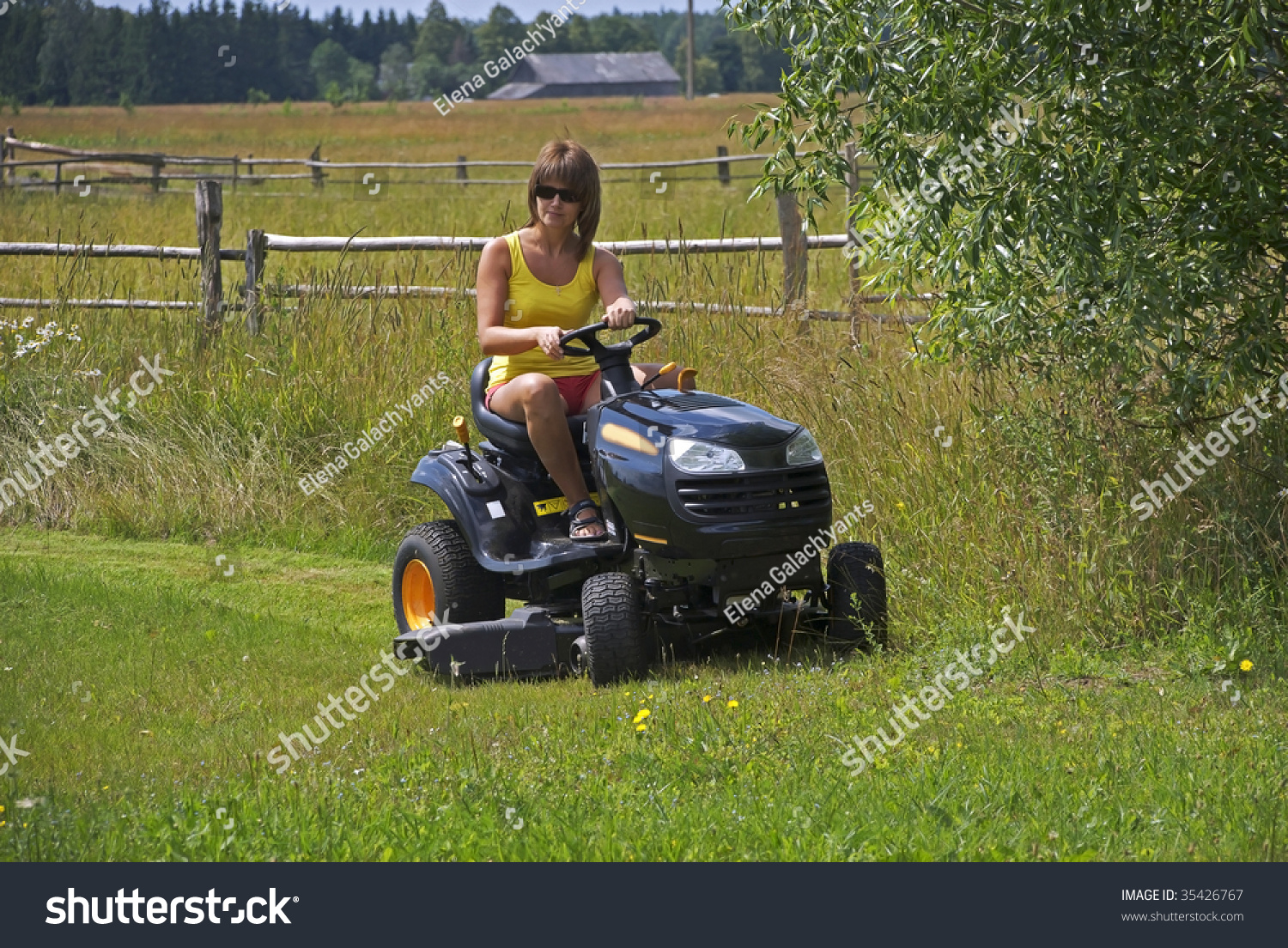 Absurd situation naked woman on riding lawnmower