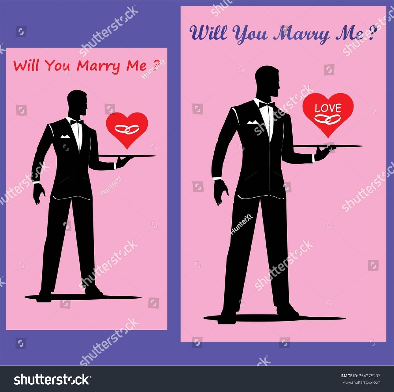 Will You Marry Me Elegance Gentleman Stock Vector 354275207 ...