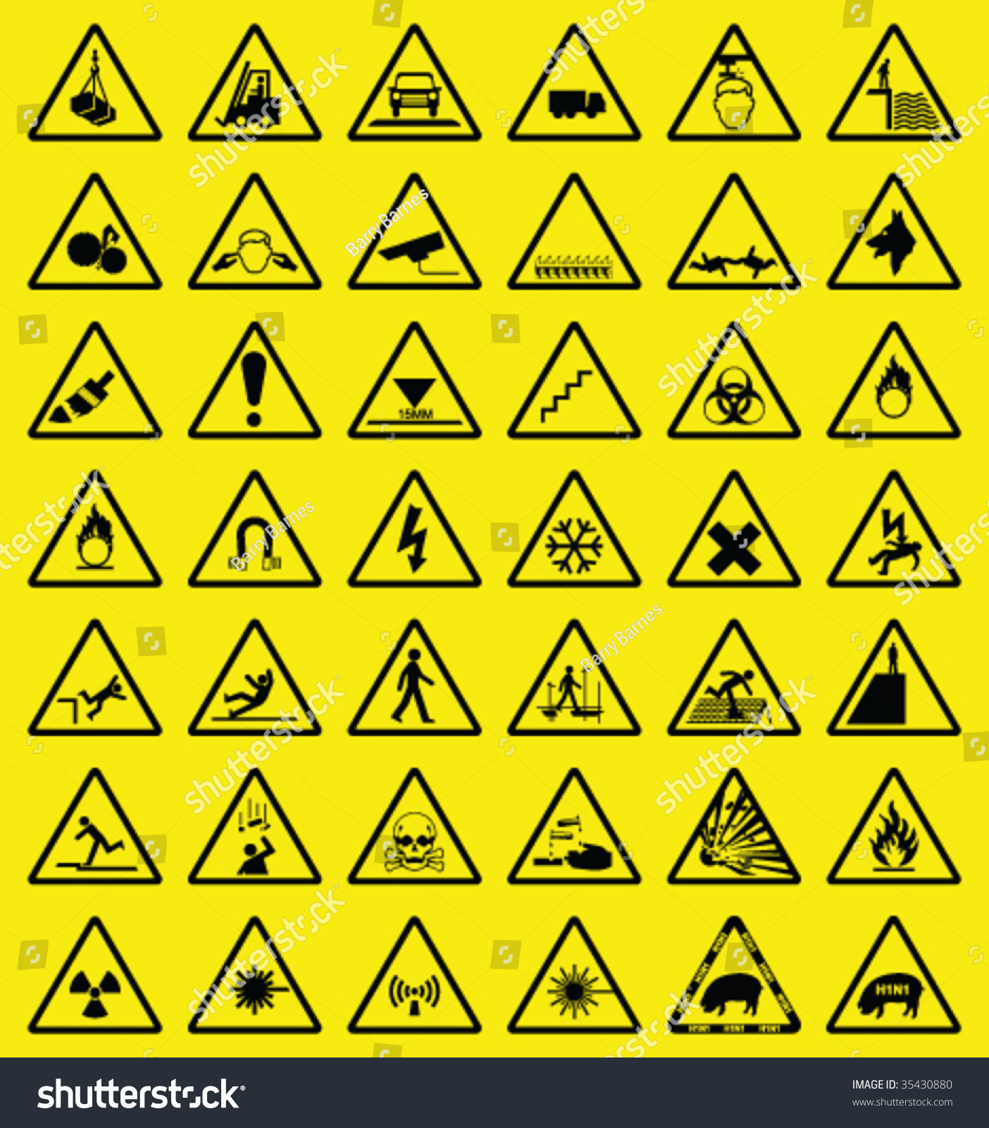 Hazard Warning Sign Collection All Signs Stock Vector 35430880 ...
