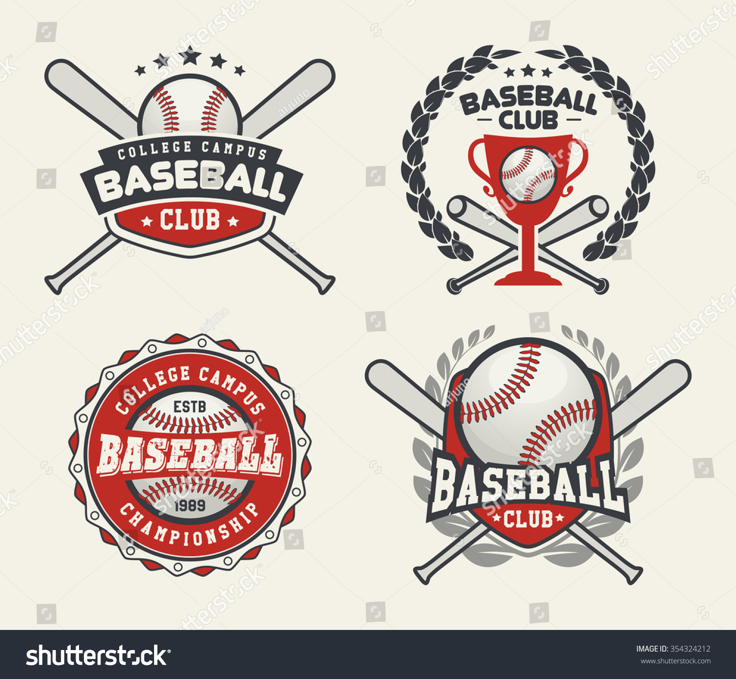 Set sport baseball badge logo templates stock vector for Baseball shirt designs template