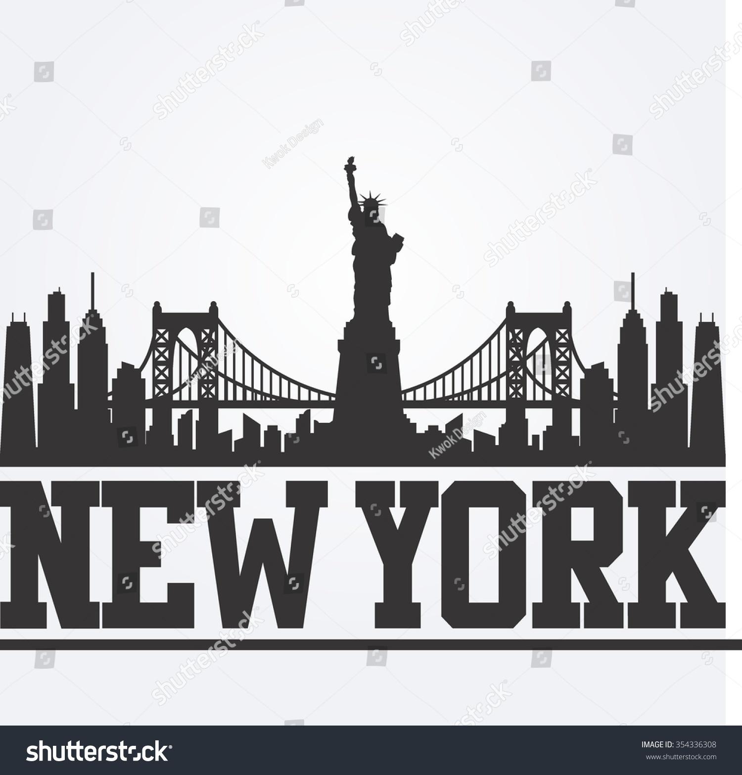 Line Art New York City : New york city skyline detailed silhouette stock vector