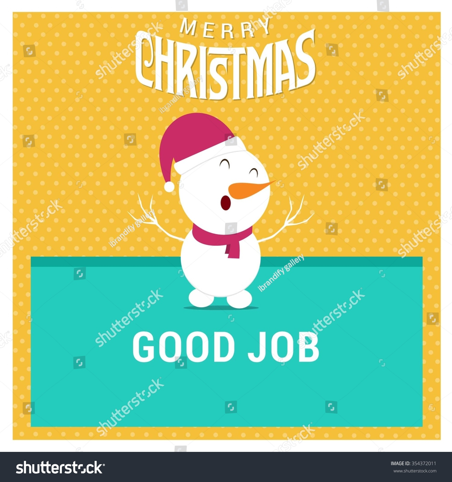 snowman cartoon character holding board good stock vector snowman cartoon character holding board good job typography on glowing background background merry christmas