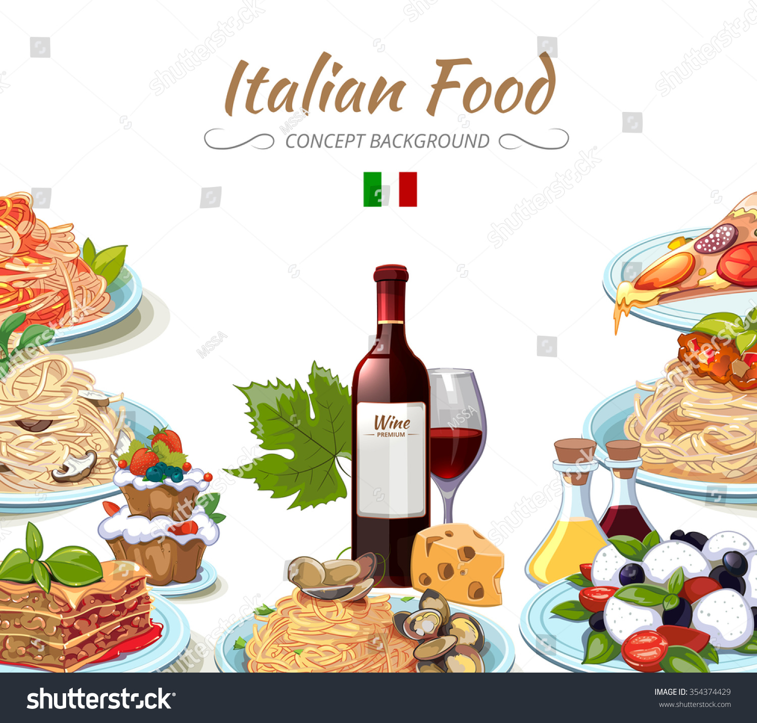 Italian cuisine food background cooking lunch stock vector for Italian cuisine