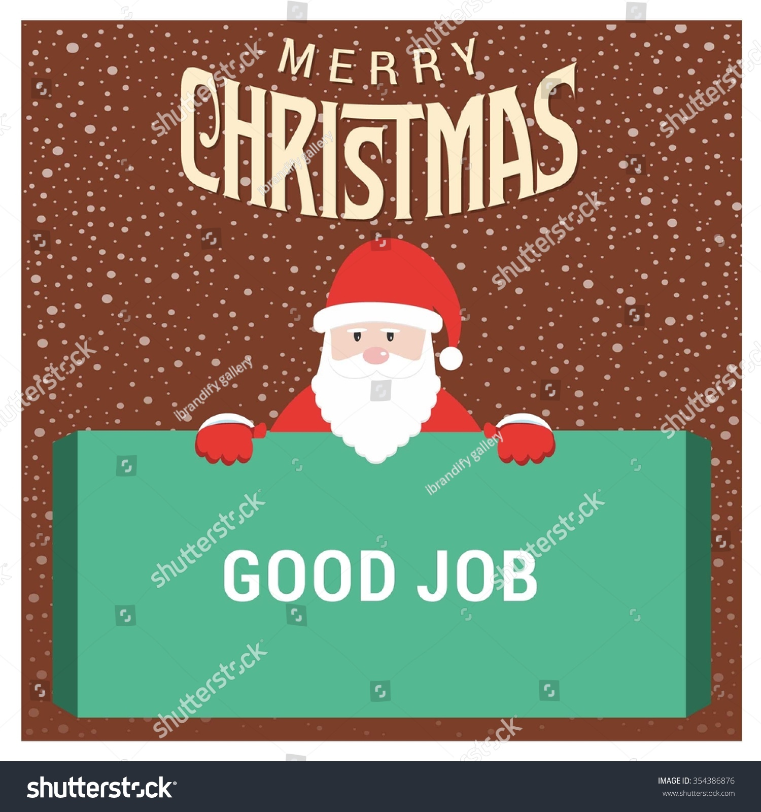 santa claus cartoon character holding board stock vector  santa claus cartoon character holding board good job typography on glowing background merry christmas