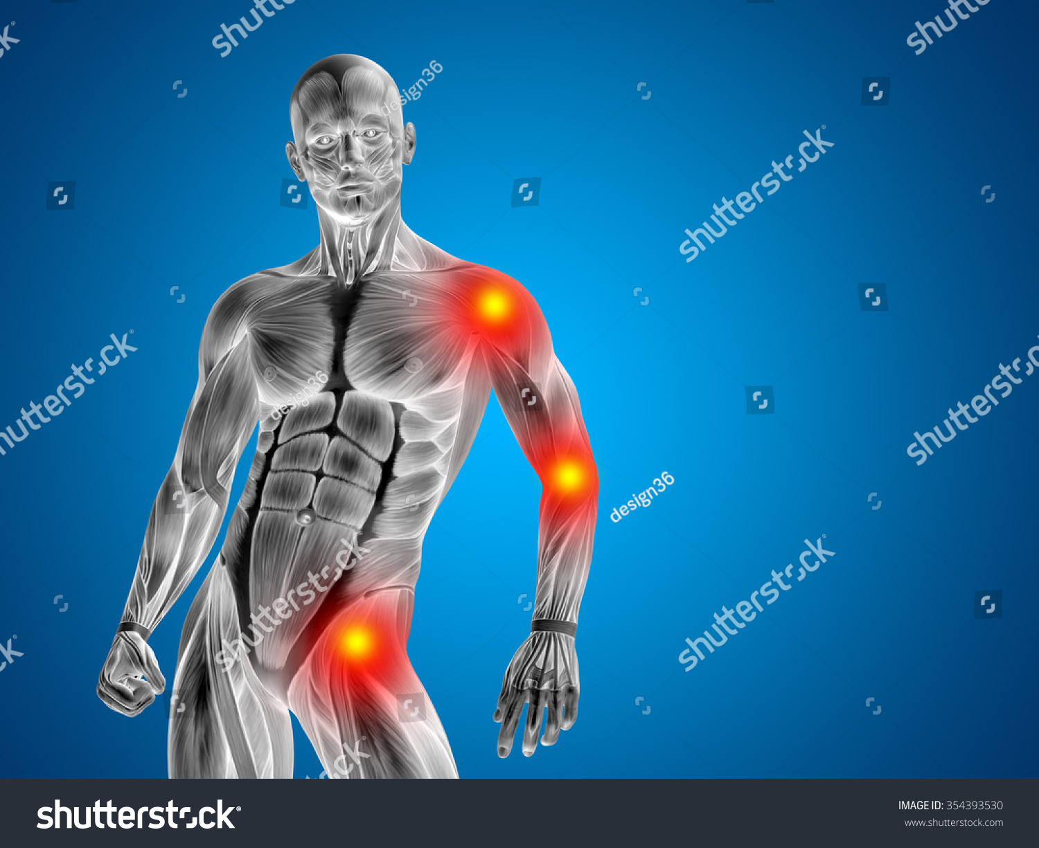 Conceptual 3 D Human Man Anatomy Upper Stock Illustration 354393530
