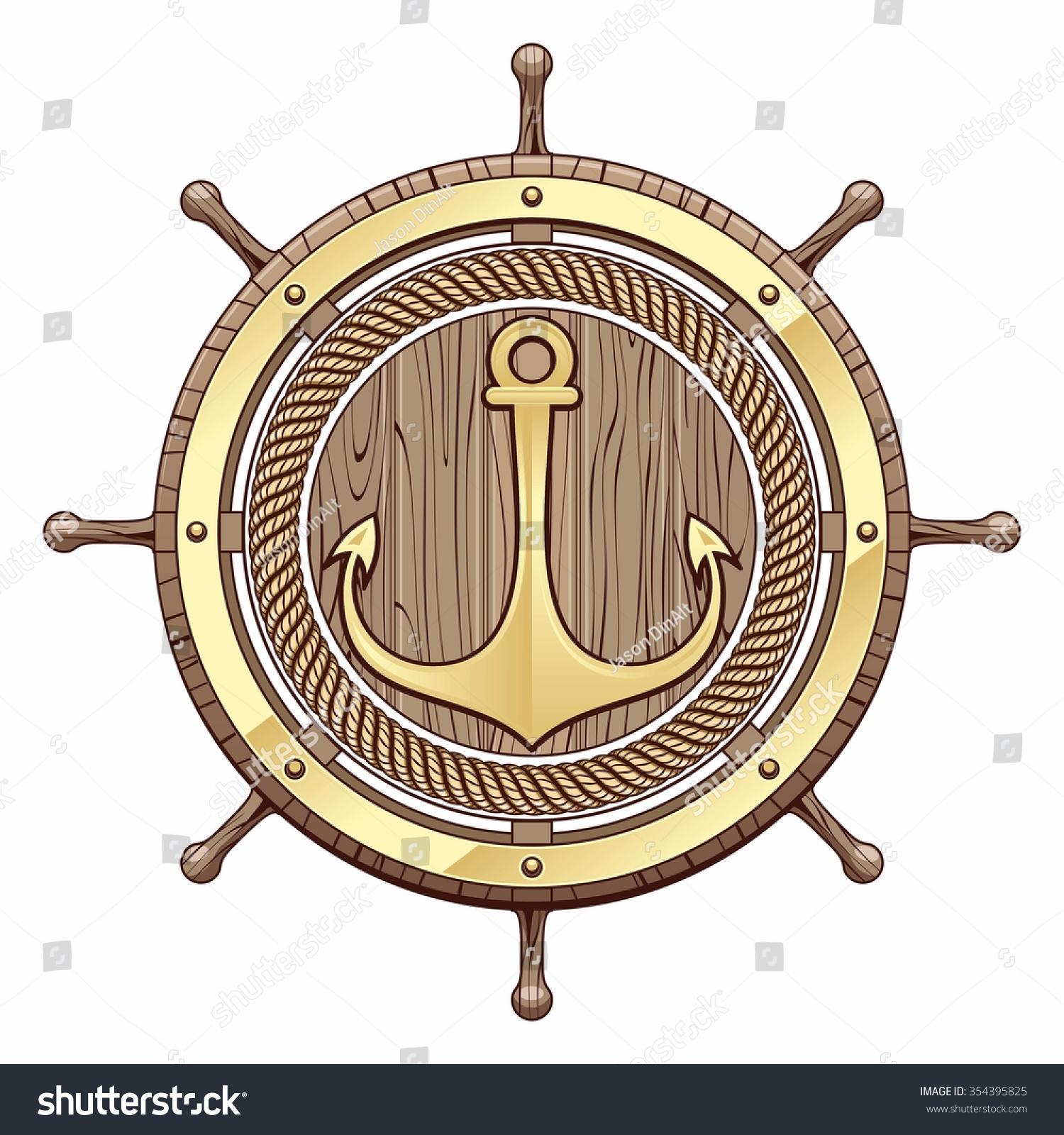 Illustration Of Steering Wheel And Gold Anchor