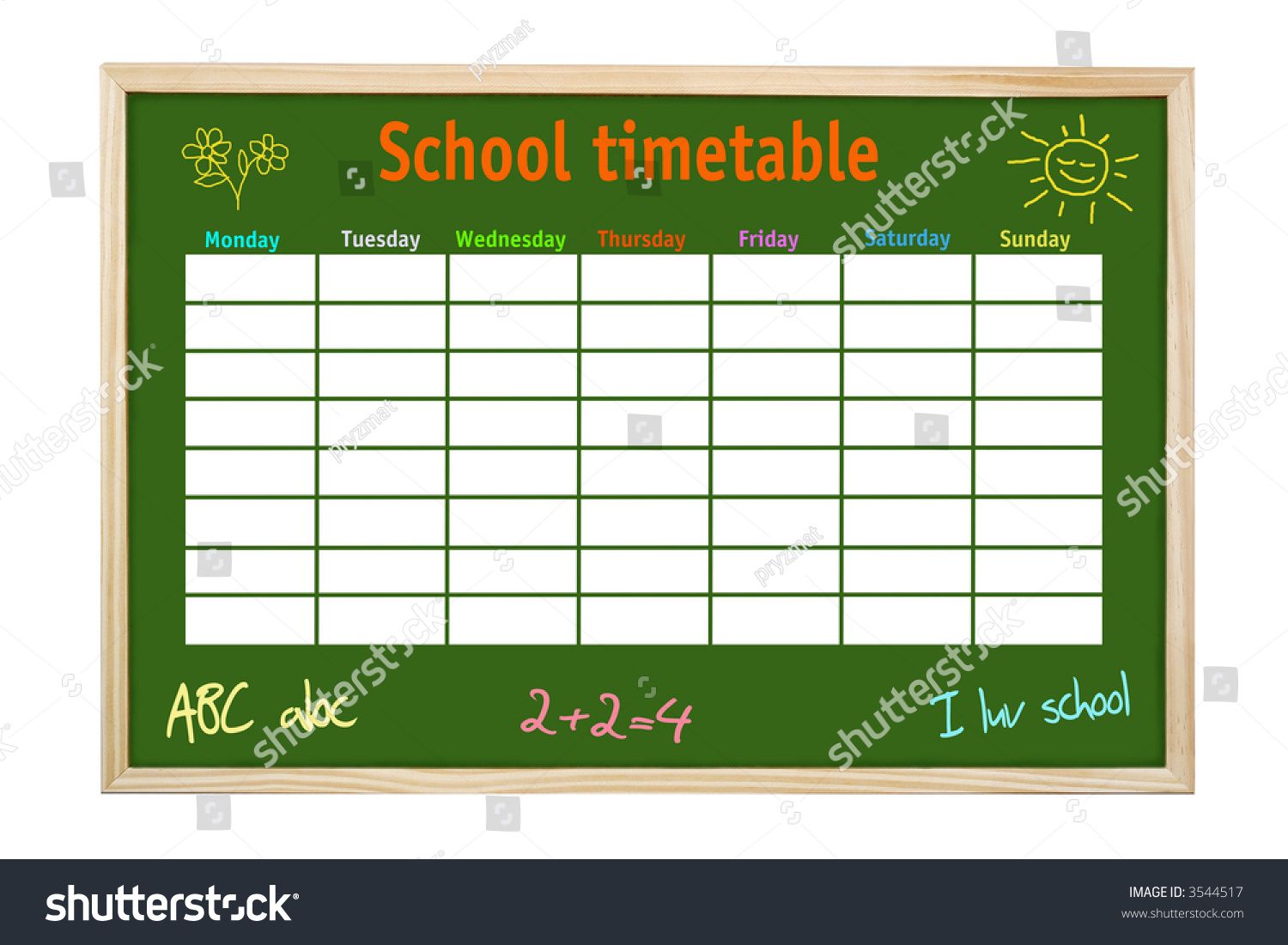 green board wooden frame school weekly stock photo  green board in wooden frame school weekly timetable and kid s hand made drawings