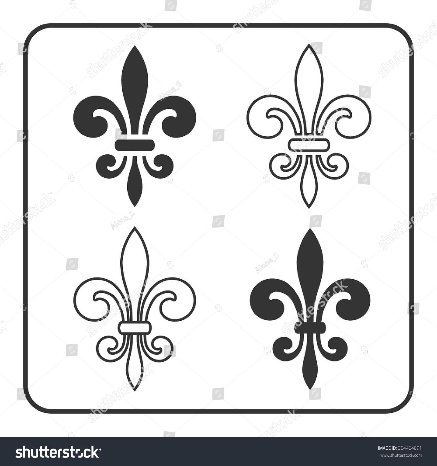 Fleur de Lis symbol set. Fleur-de-Lis sign. Royal french lily. Heraldic  icon for design, logo, decoration. Elegant flower outline design.