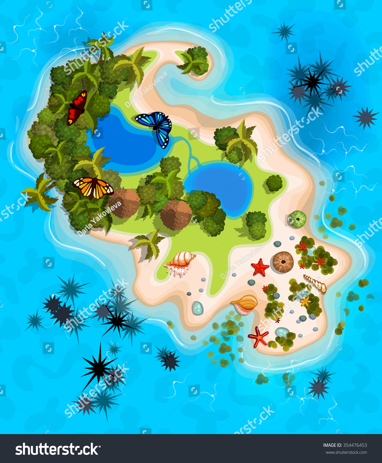 Cartoon tropical exotic island ocean top vector de stock354476453 cartoon tropical exotic island in ocean top view island sprite vector game design for gumiabroncs Gallery