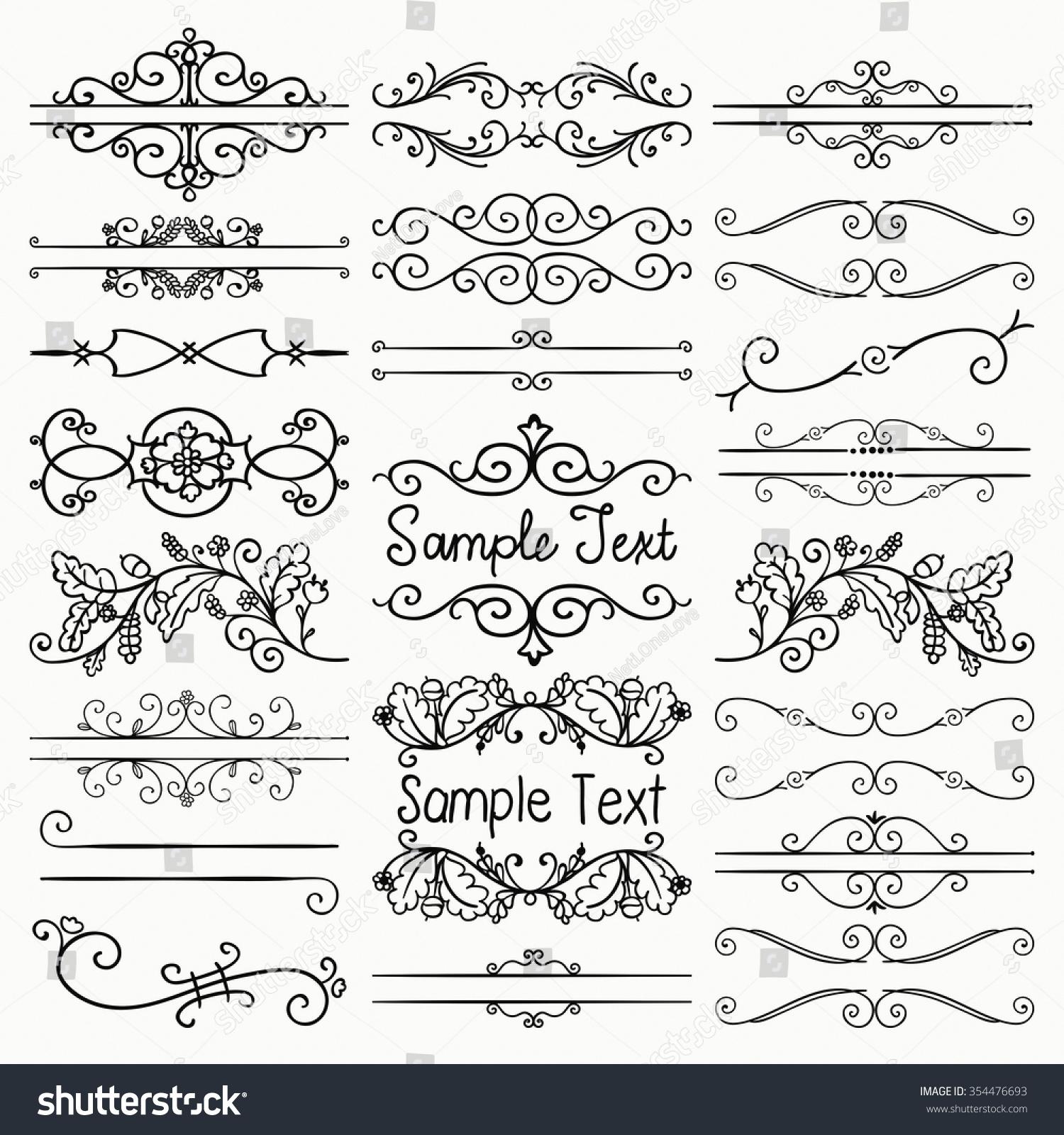 Set Of Black Flower Design Elements Vector Illustration: Set Of Hand Drawn Sketched Black Doodle Design Elements