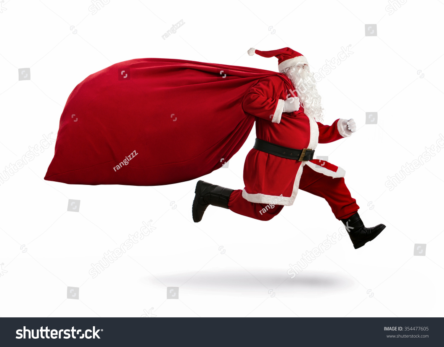 Santa Claus on the run to delivery christmas gifts isolated on white background #354477605 - 123PhotoFree.com