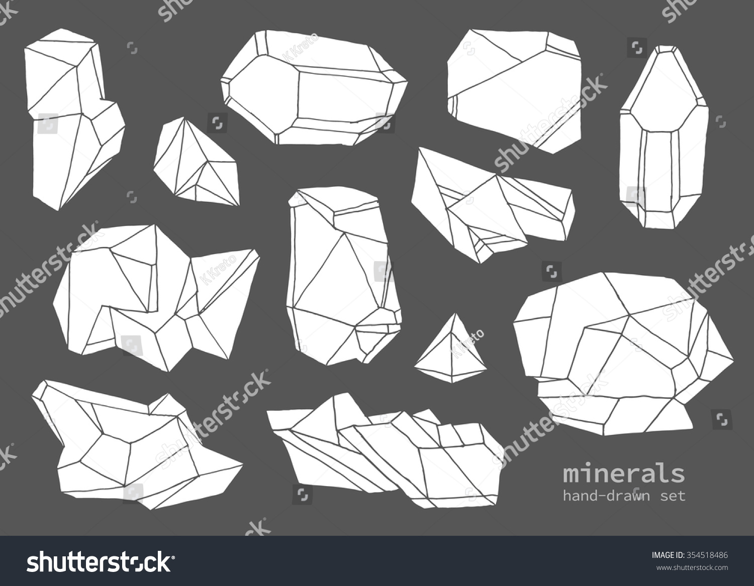 Line Drawing Vector Graphics : Set handdrawn line art polygonal crystals stock vector 354518486