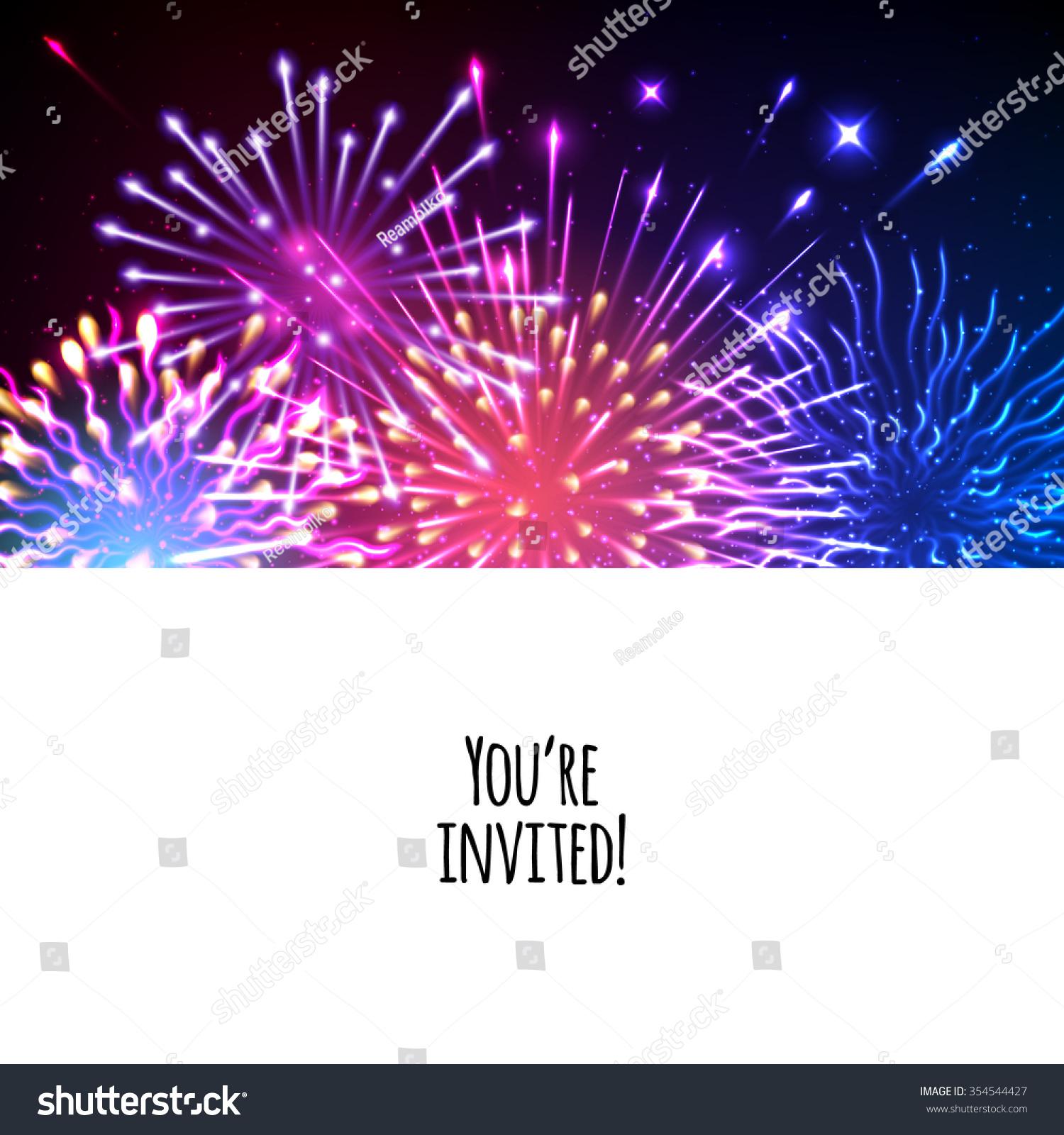 universal invitation card template design with fireworks background wedding birthday party celebration