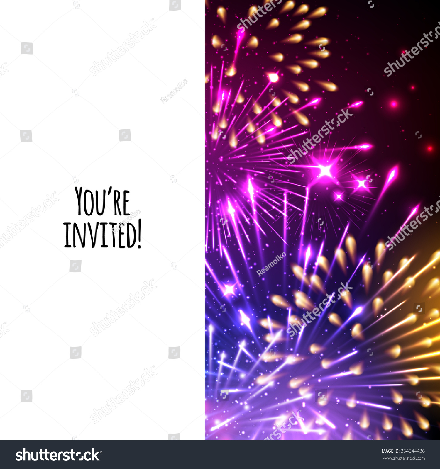 Universal Invitation Card Template Design Fireworks Stock Vector ...