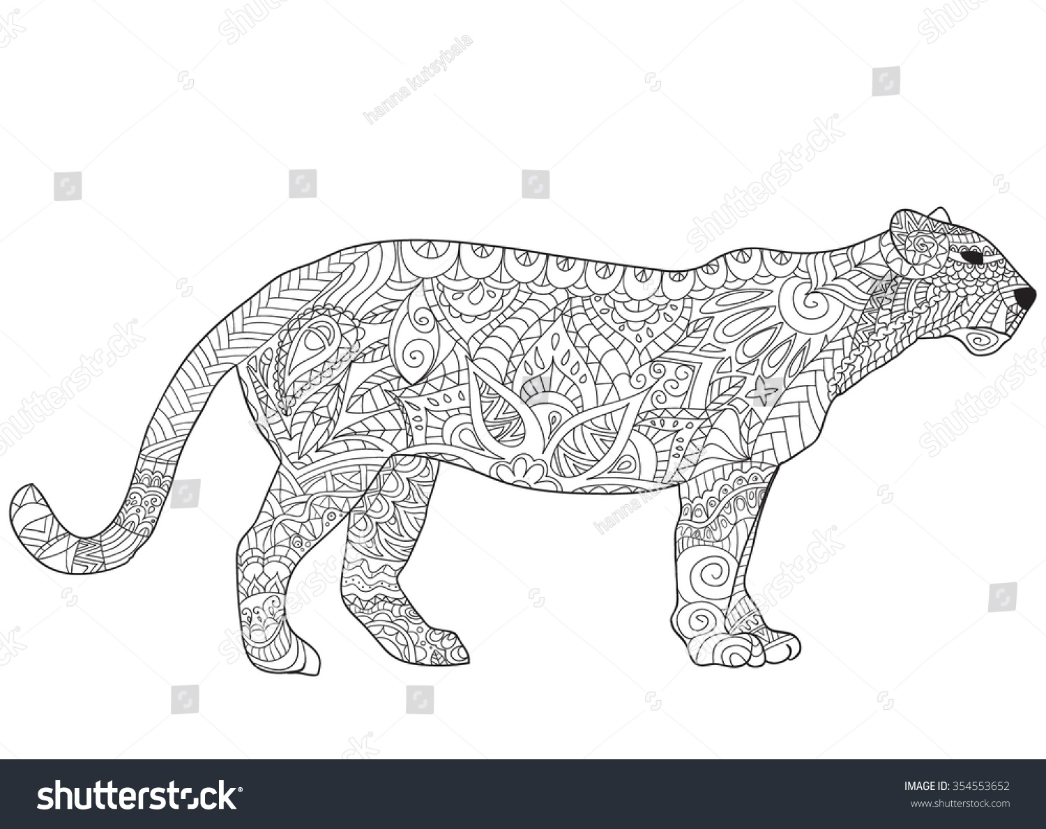 hand drawn jaguar isolated on transparent stock vector 354553652