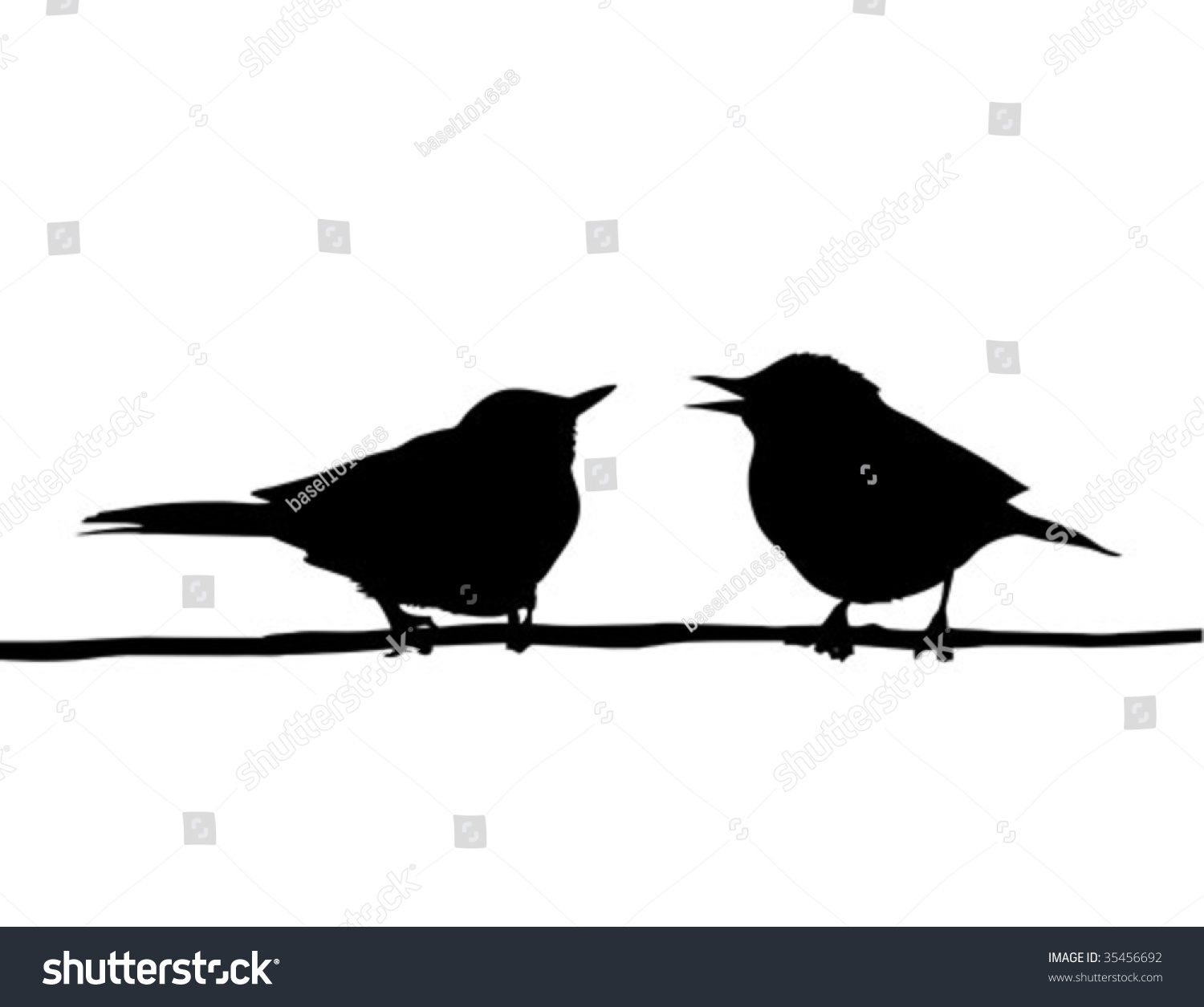 Vector Drawing Two Birds Sitting On Stock Vector 35456692