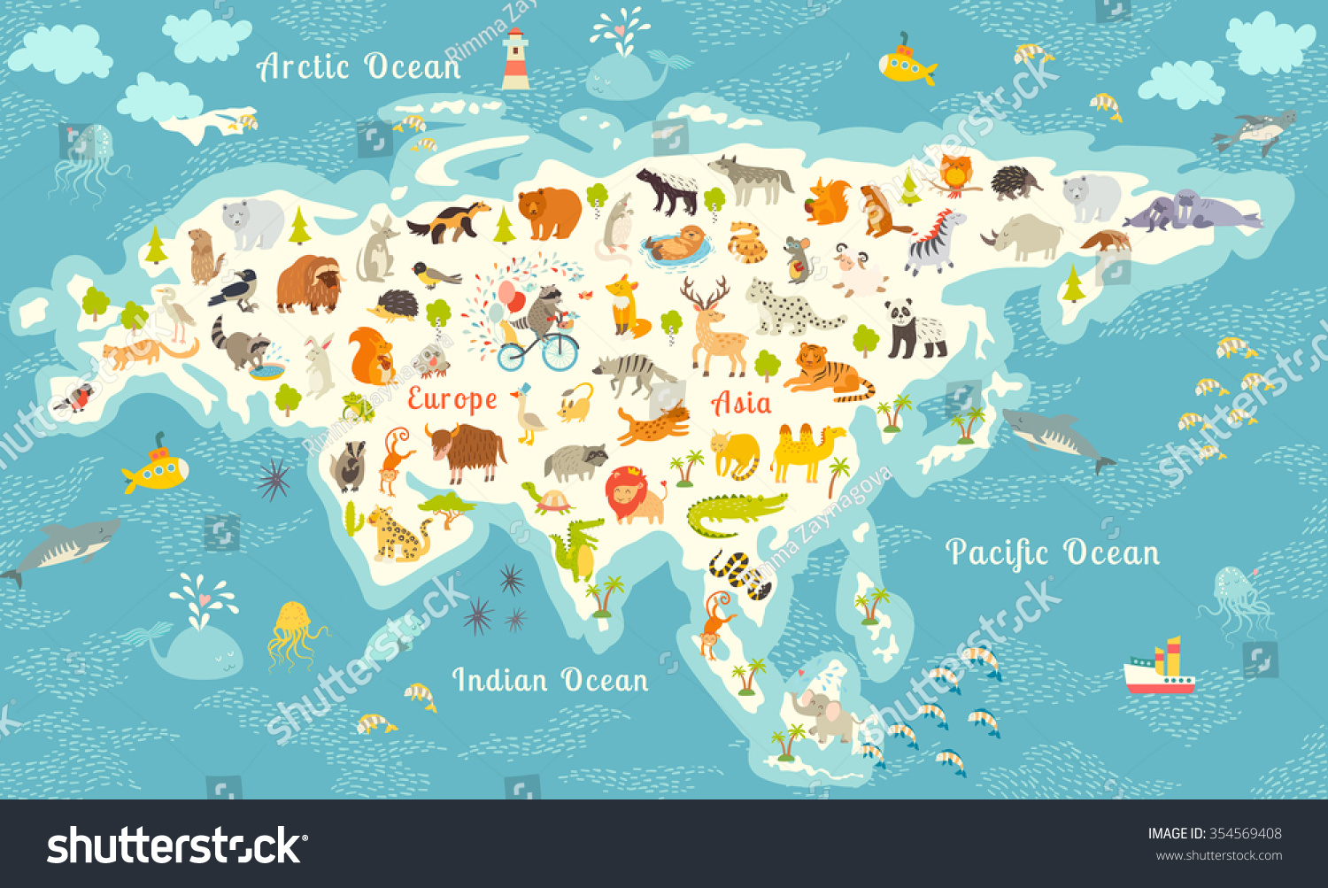 Animals World Map North America Colorful Vector 354569408 – Map World Poster Kids